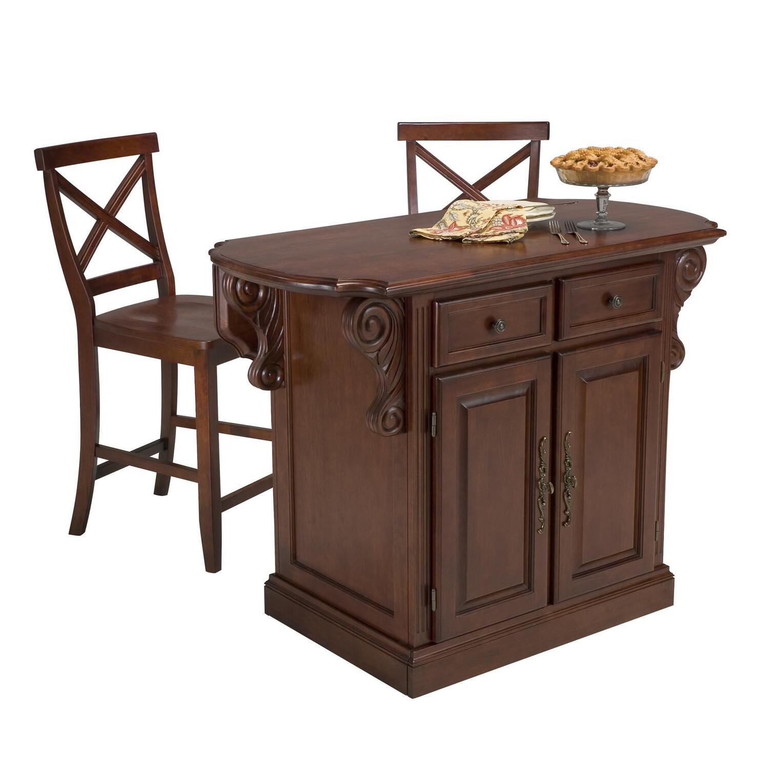 Home styles traditions kitchen island and two bar stools for Bar stools for kitchen island