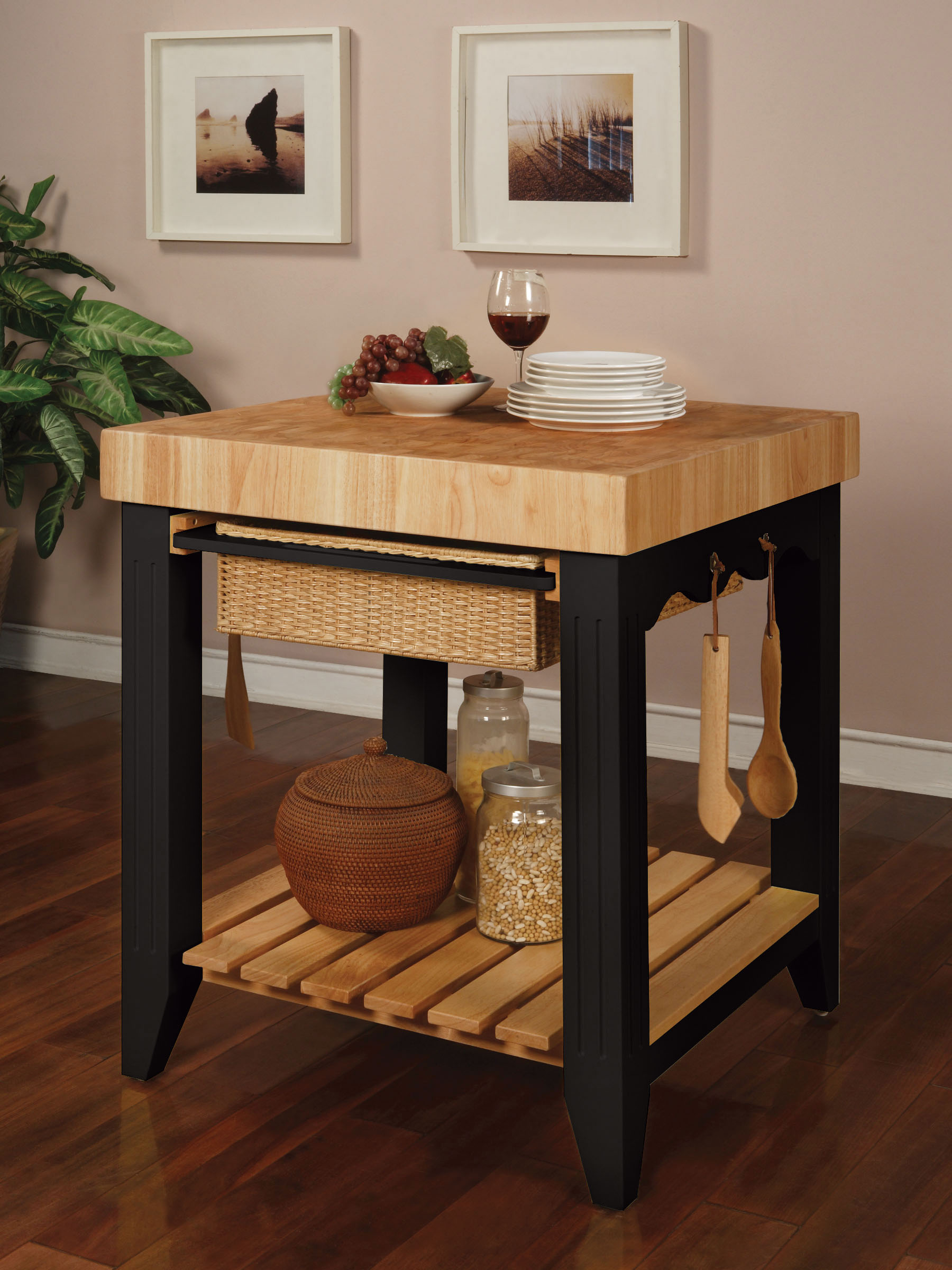 Powell Color Story Black Butcher Block Kitchen Island by OJ Commerce 502-416 - $499.00