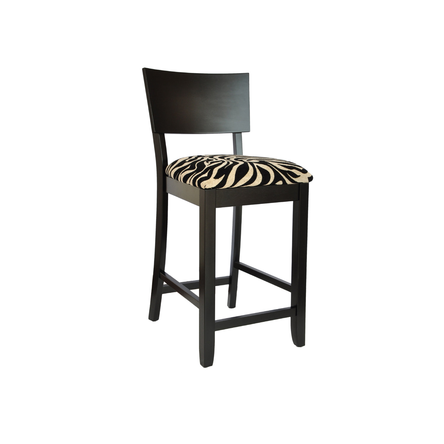 Powell Black Bent Back Counter Stool With Zebra Pattern