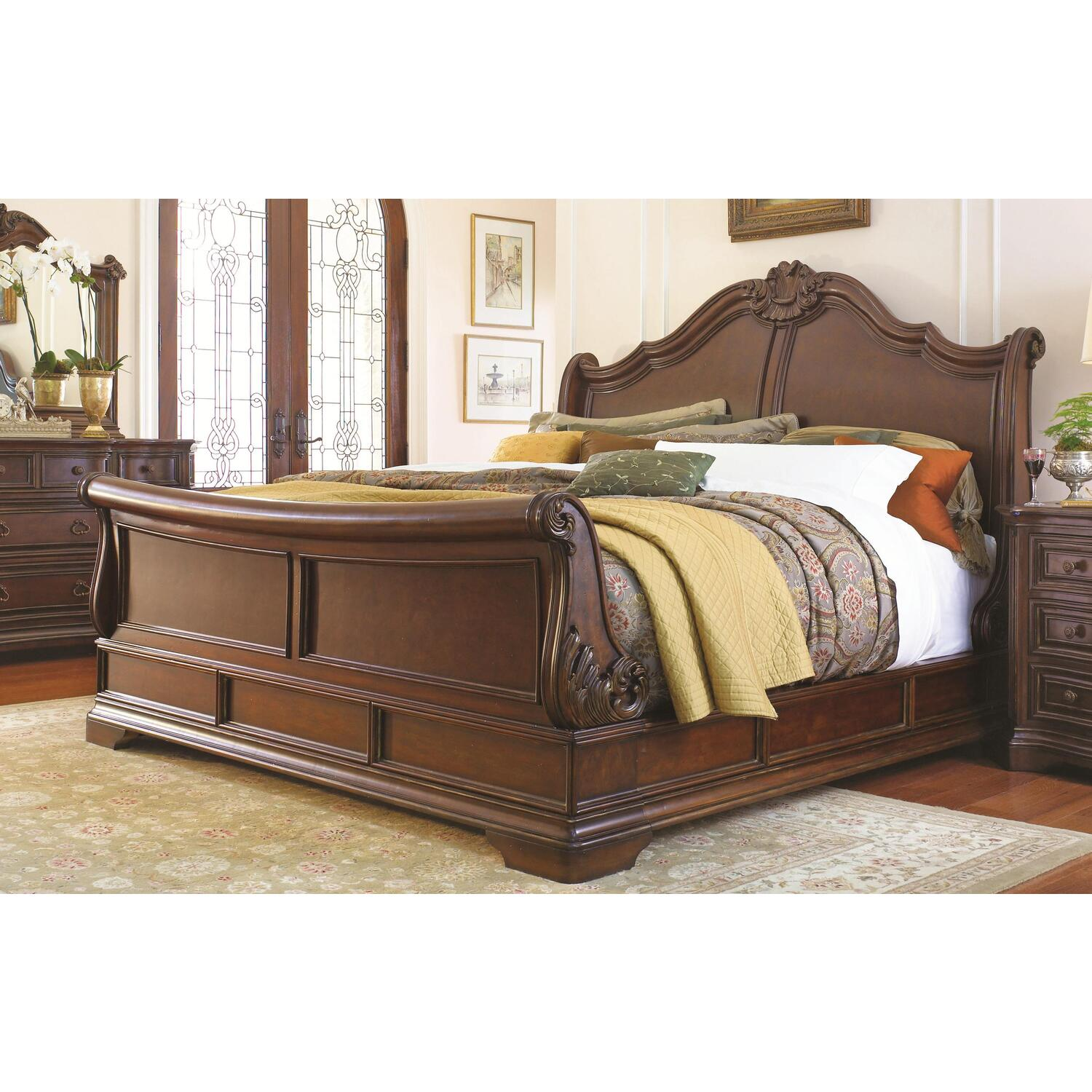 universal furniture casa verona california king sleigh bed by oj commerce 50977ck 2. Black Bedroom Furniture Sets. Home Design Ideas