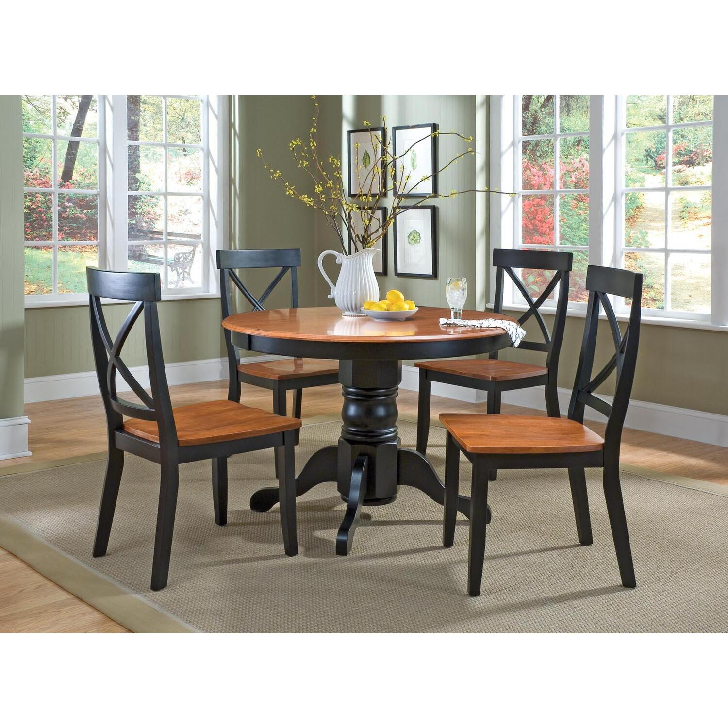 Home styles 5 piece round pedestal dining set by oj for 5 piece dining room set with bench