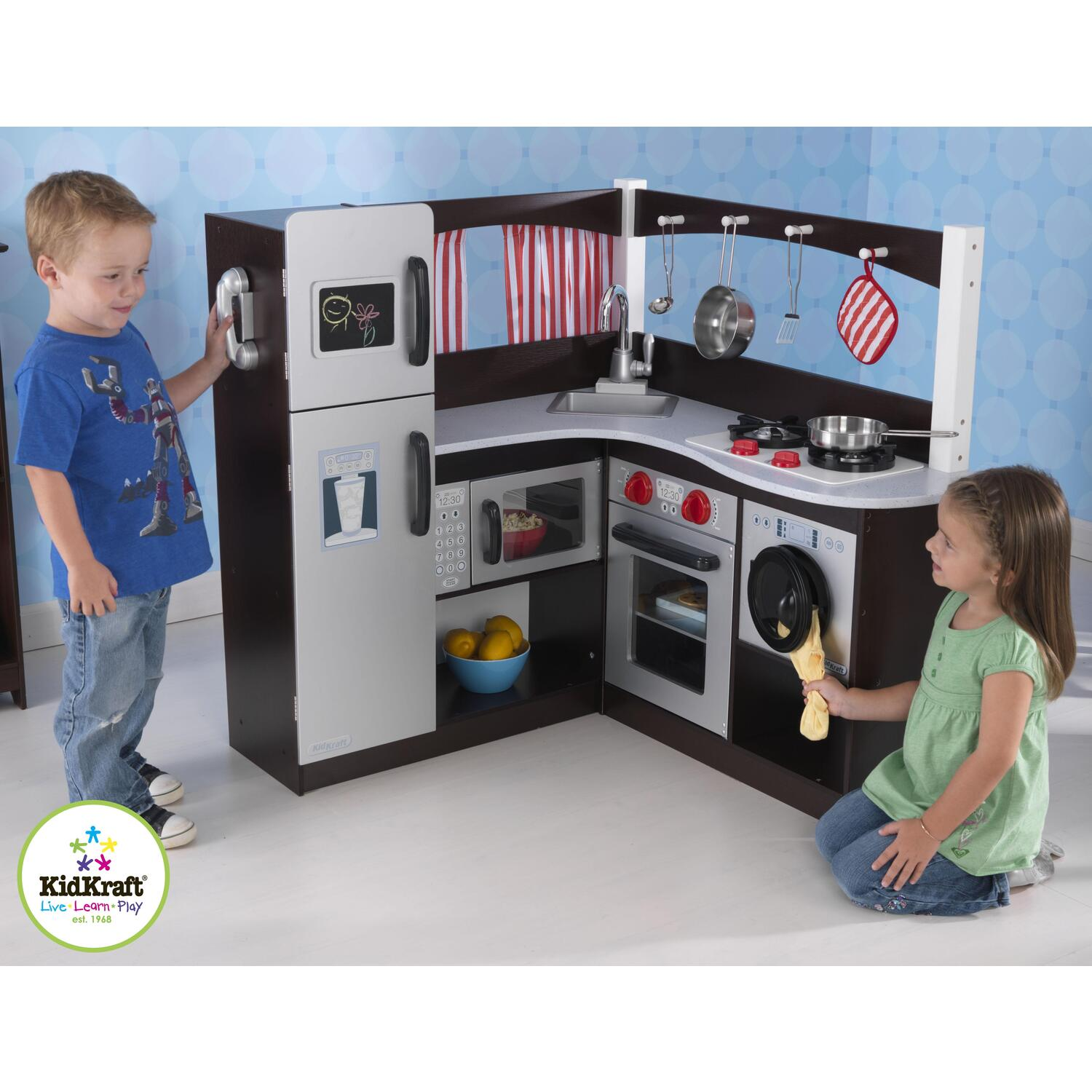 kidkraft grand espresso corner kitchen by oj commerce 53271