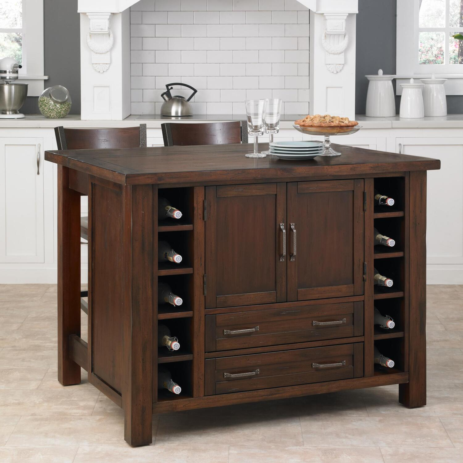 Home styles cabin creek kitchen island with breakfast bar for Bar stools for kitchen island