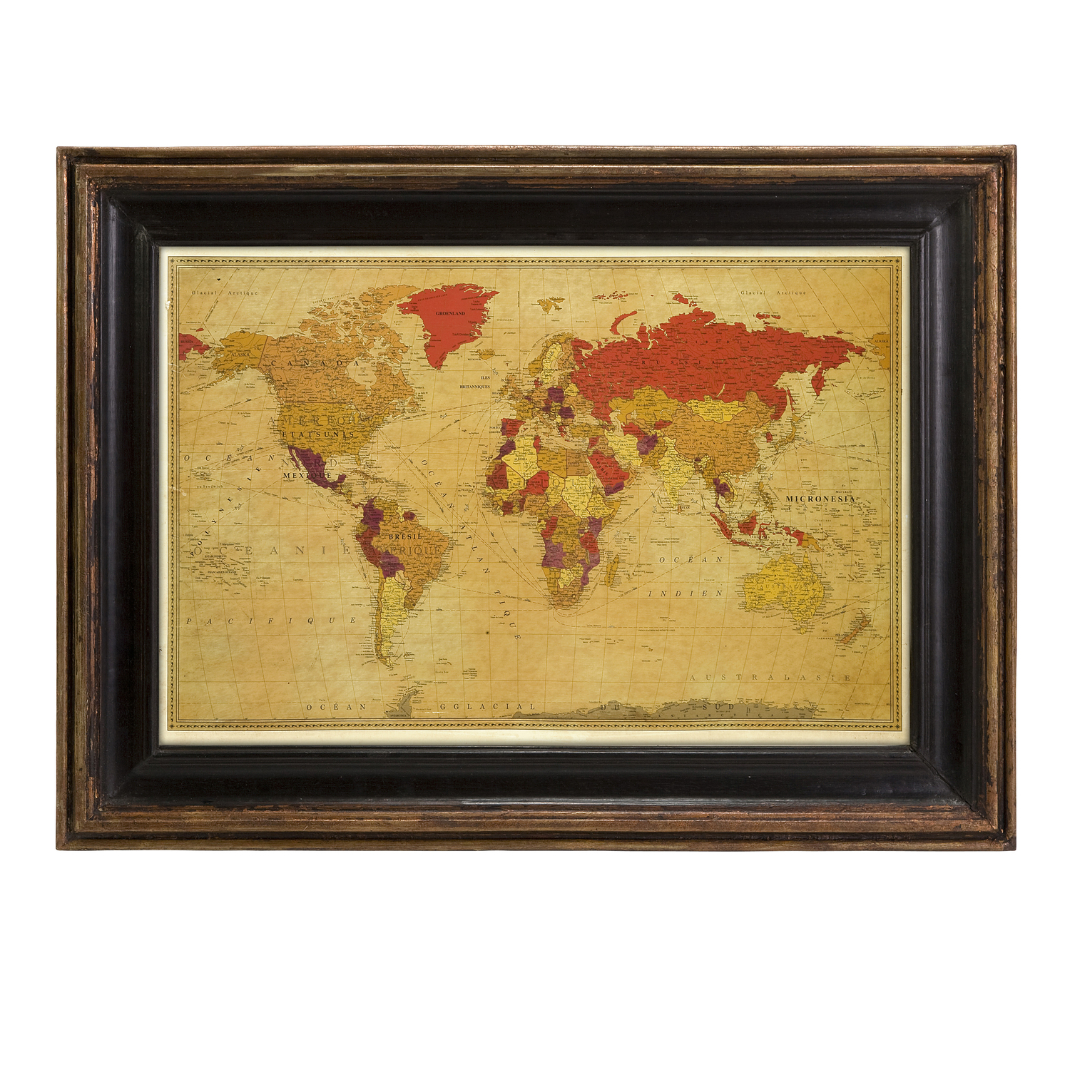 imak anish world map in wood frame by oj commerce 5523. Black Bedroom Furniture Sets. Home Design Ideas