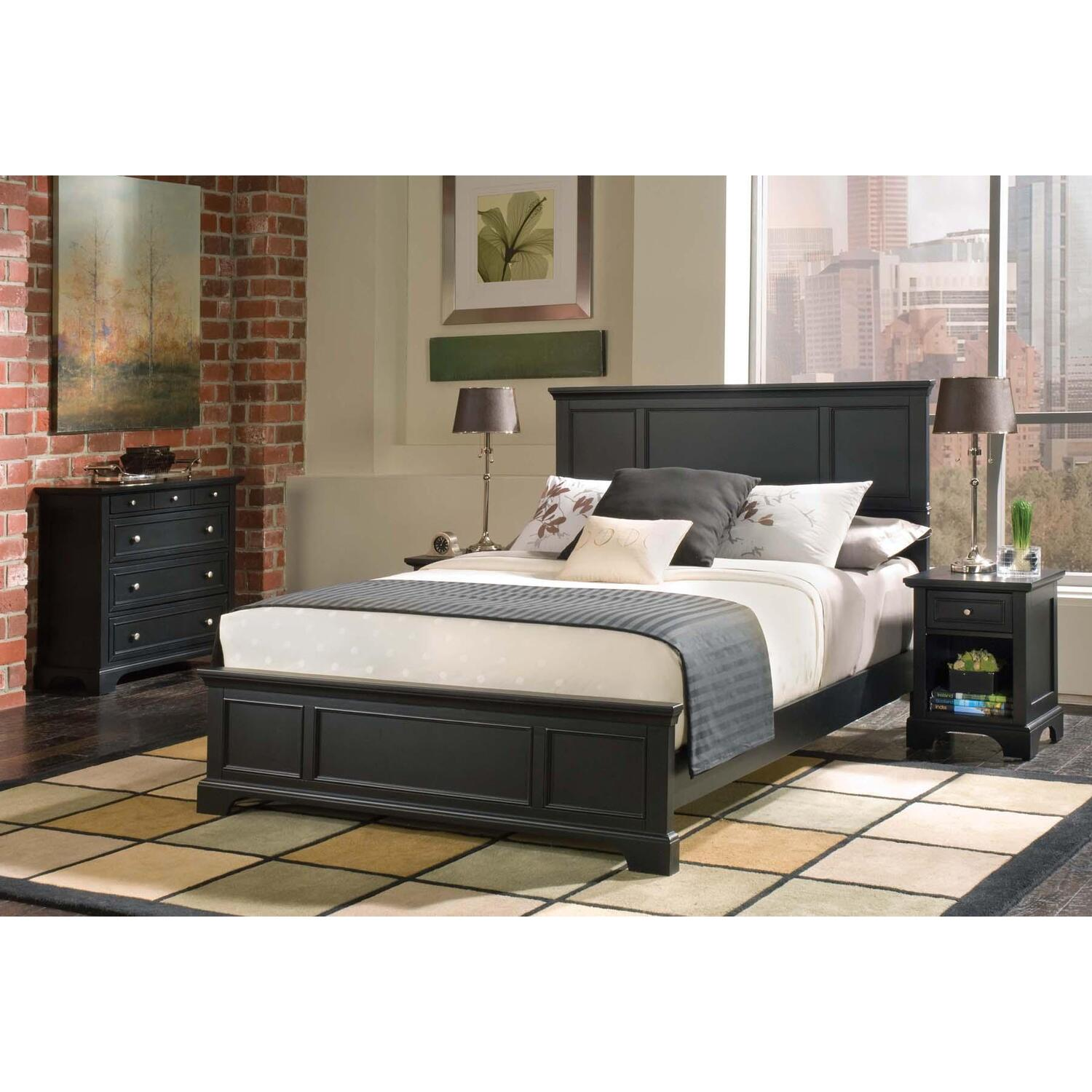 Home styles bedford queen bed night stand and chest by for Queen bed frame and dresser set