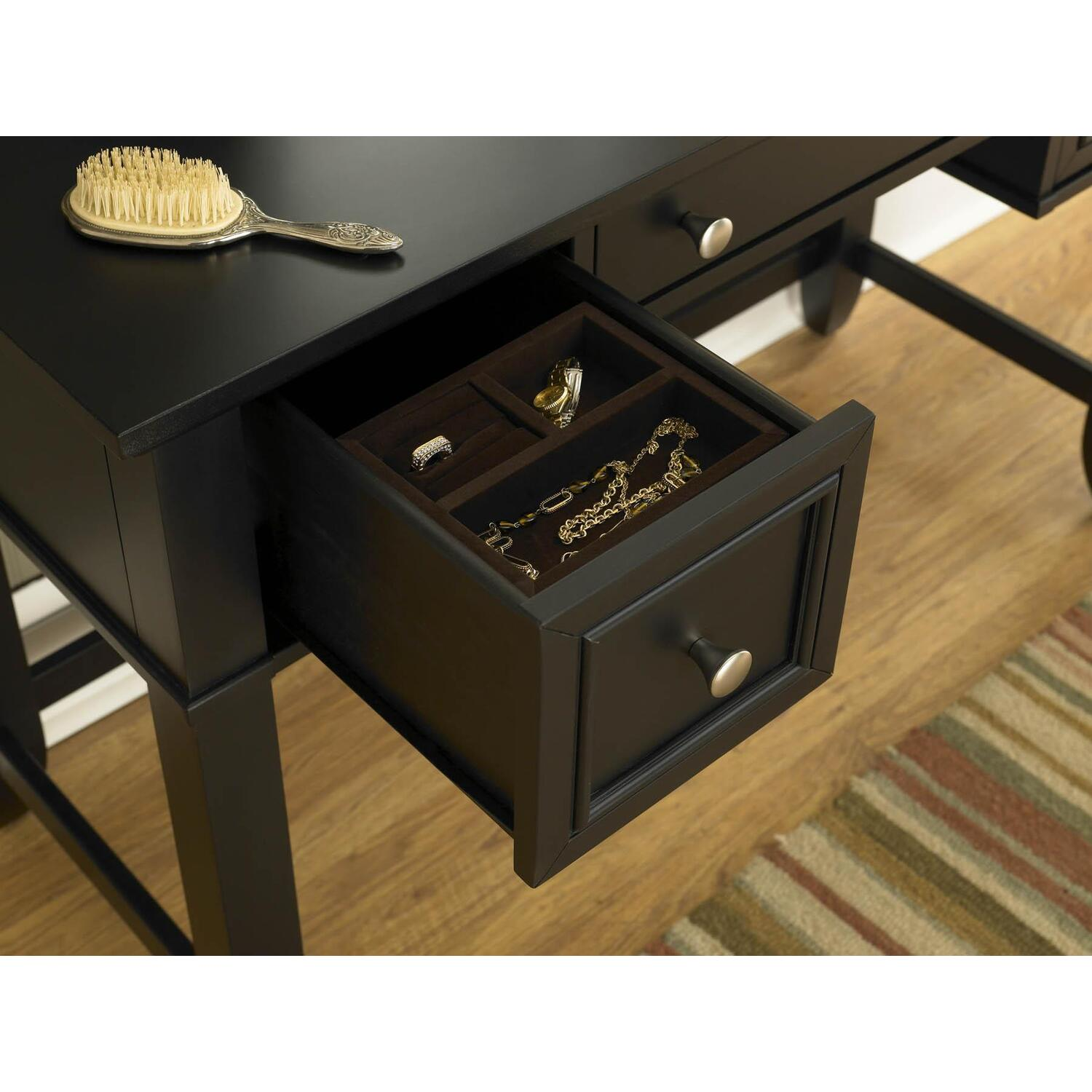 Home styles bedford black vanity table by oj commerce 5531 for Black vanity table without mirror