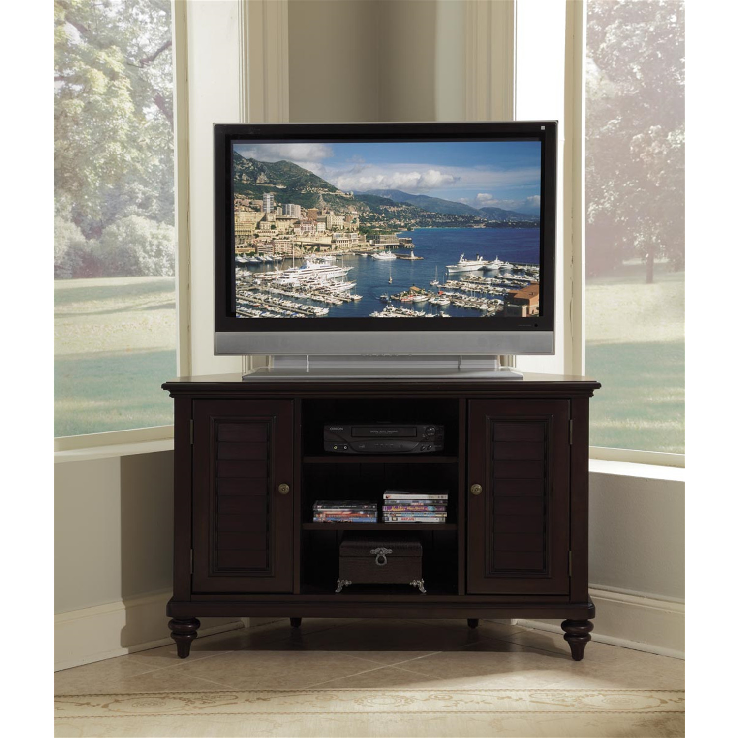 home styles bermuda espresso corner tv stand by oj. Black Bedroom Furniture Sets. Home Design Ideas