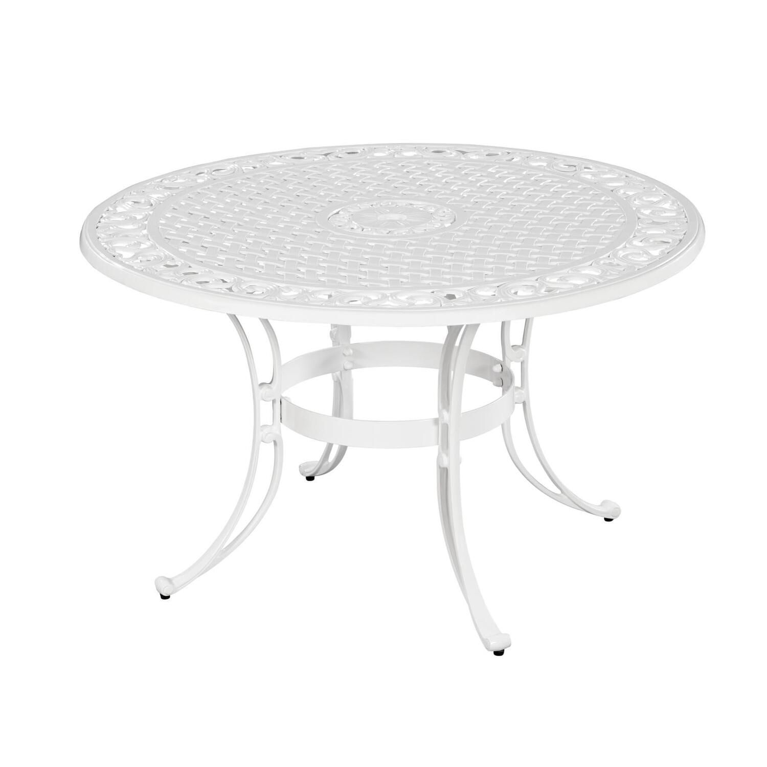 Home styles biscayne 48 round dining table white finish for 32 wide dining table