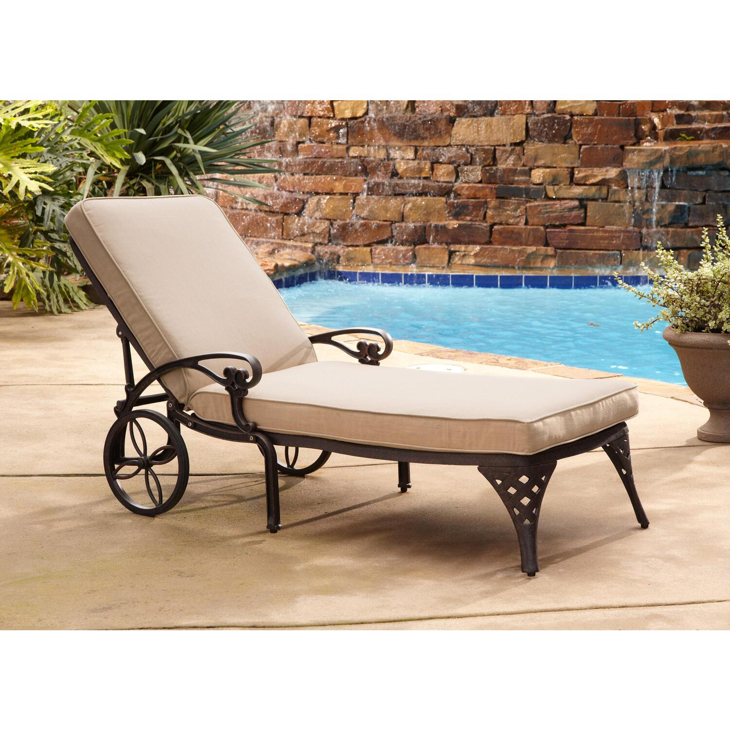 Home styles biscayne chaise lounge chair taupe cushion by for Chaise lounge bench