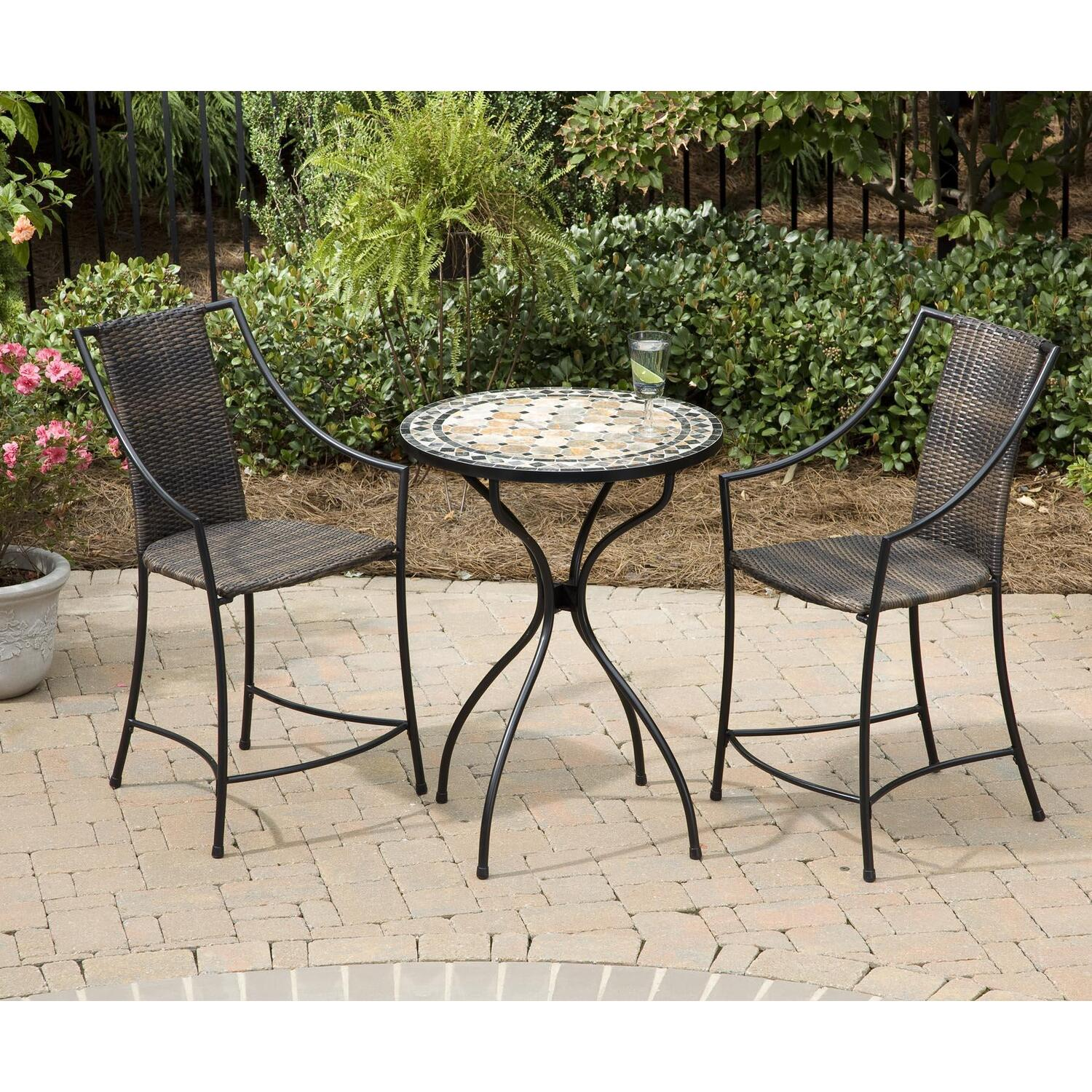 home styles 3pc high top bistro set marble high top bistro