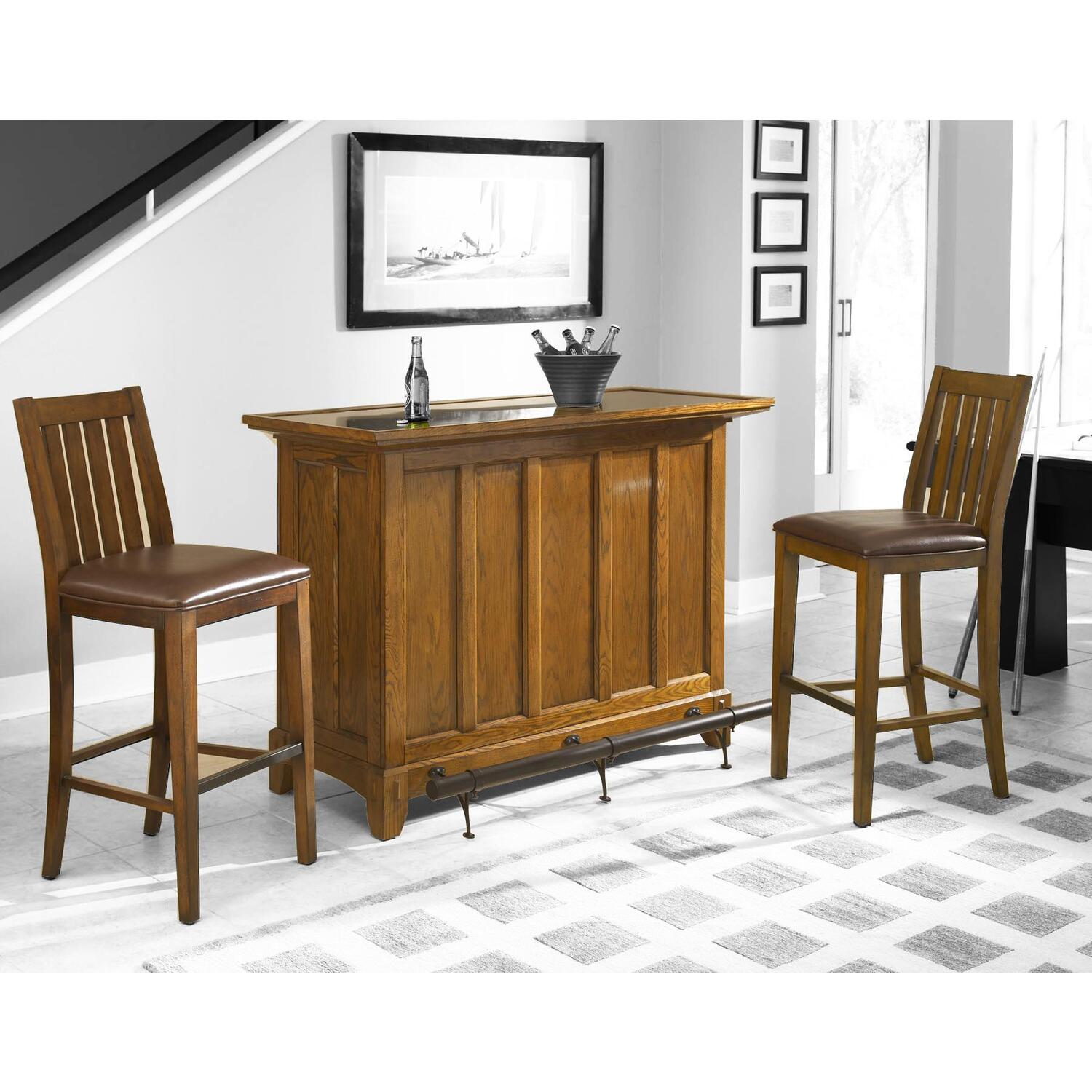 Home Styles Arts Craft 3pc Bar Set Bar Two Stools Distressed Oak Finish By Oj Commerce 5900