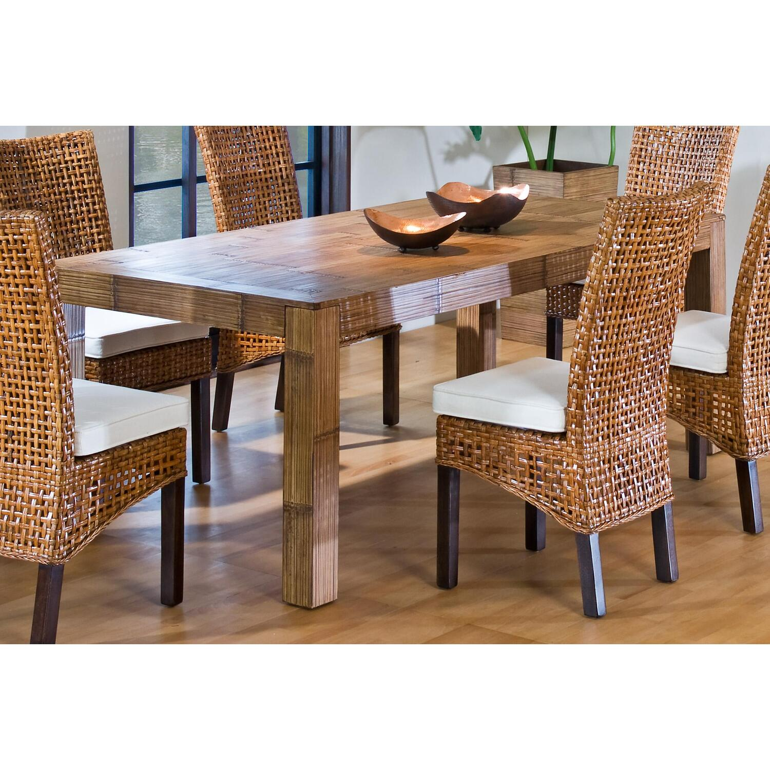 Dining table indoor wicker dining table for Table et chaise en rotin