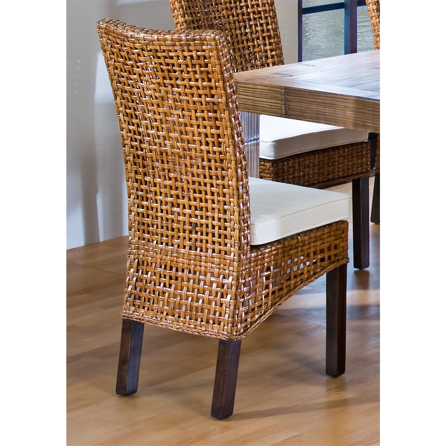 hospitality rattan indoor rattan wicker side chair with cushion by
