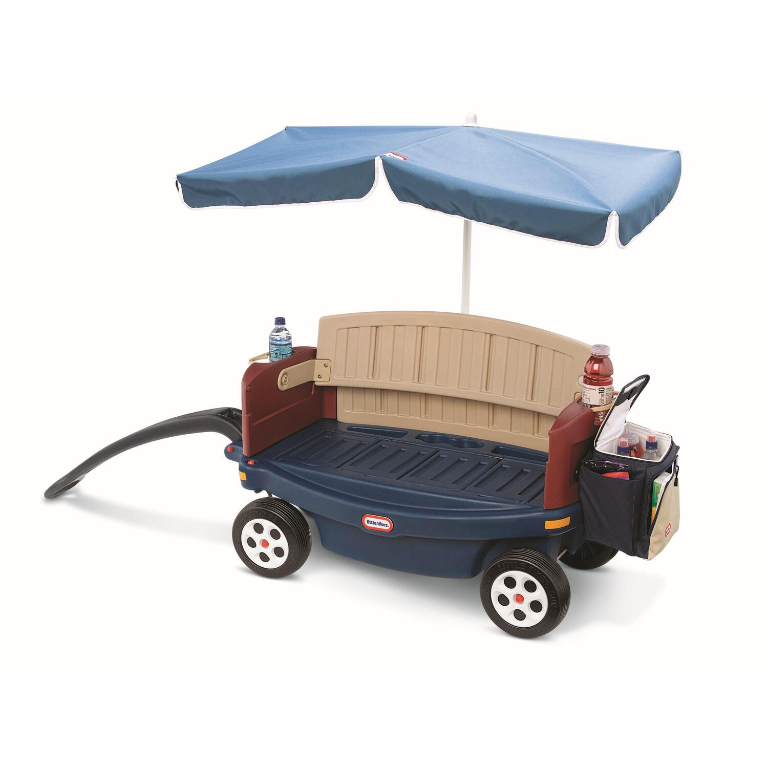 Brightly colored wagon, made of sturdy Step2 plastic that your family trusts for all of your kids' wagon adventures. x x inches, large and roomy for holding kids or holding stuff! A LARGE, soft removable Igloo cooler that nestles right inside the wagon.