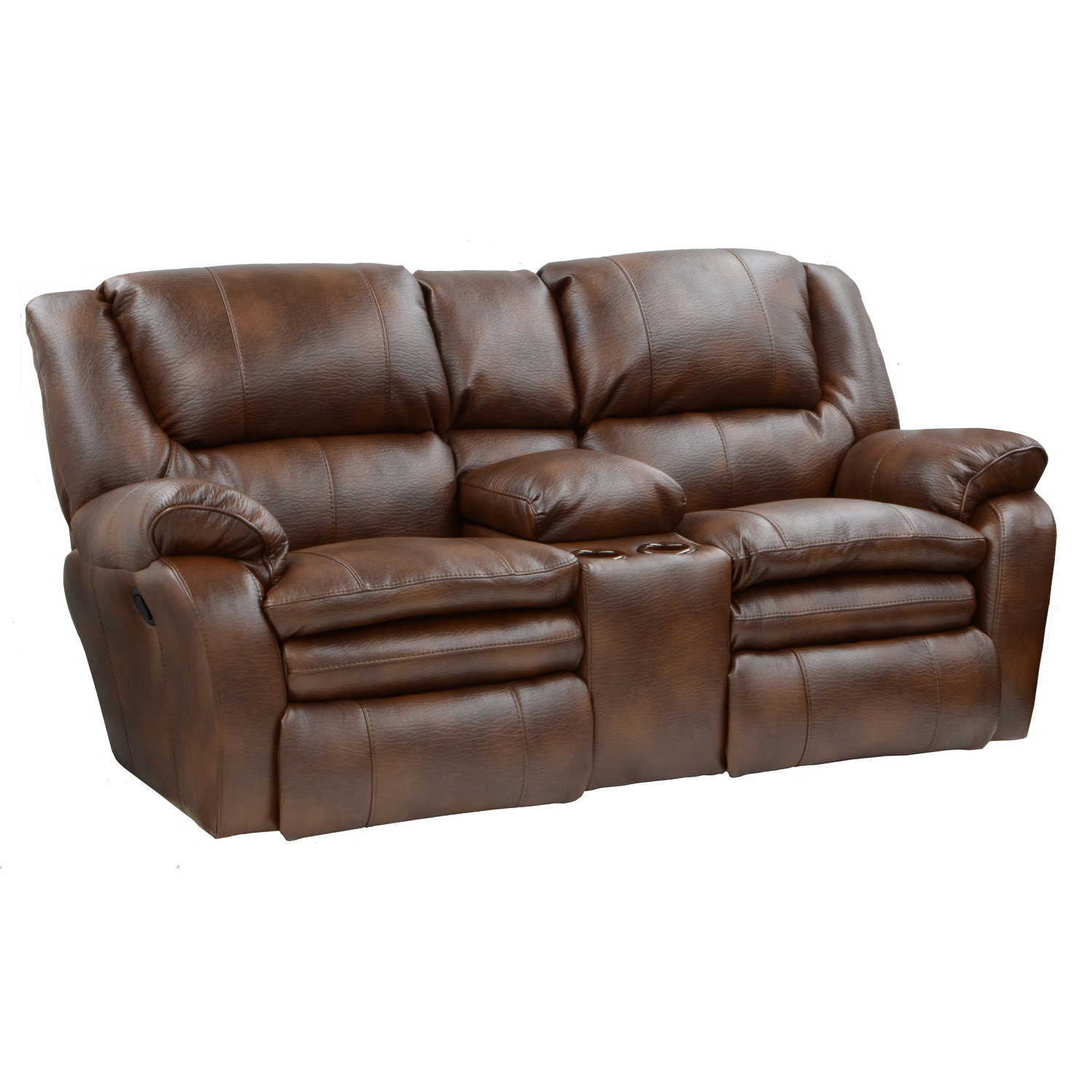Catnapper Russell Leather Console Loveseat By Oj Commerce 1 1