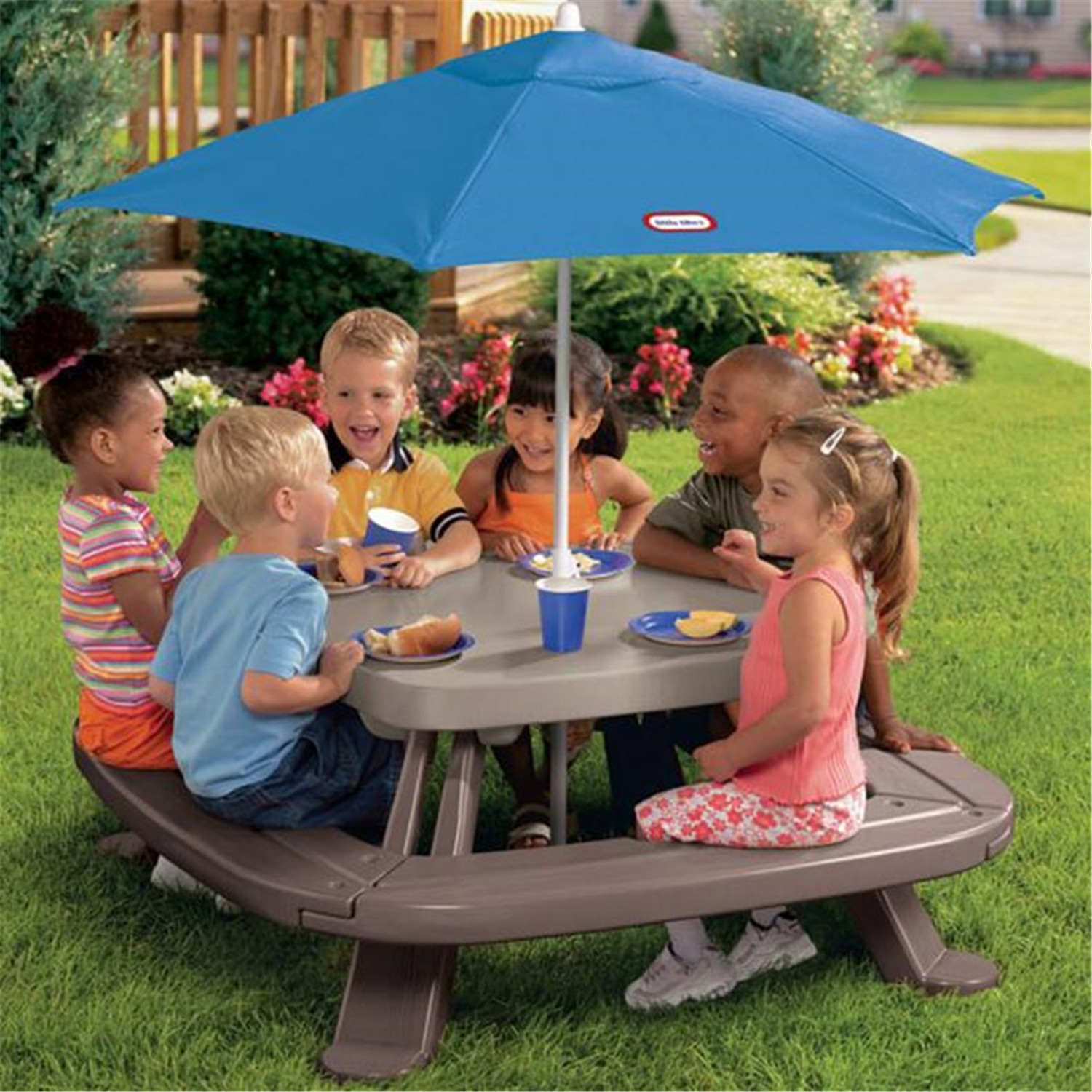 Little tikes fold n store picnic table with market umbrella by oj - Little Tikes Little Tikes Fold N Store Picnic Table With