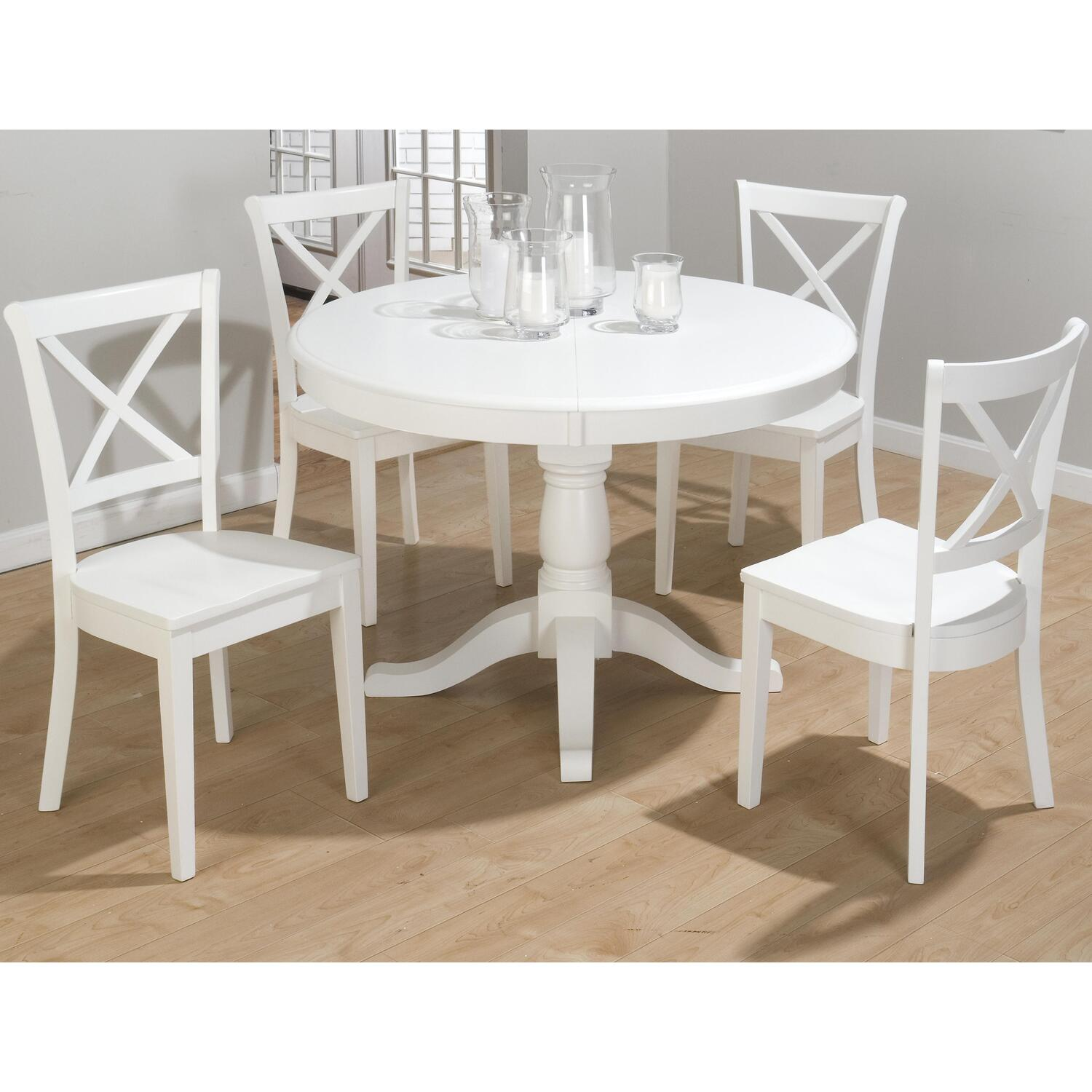 Jofran casper white finished 5 pc dining set by oj for Small white dining room sets