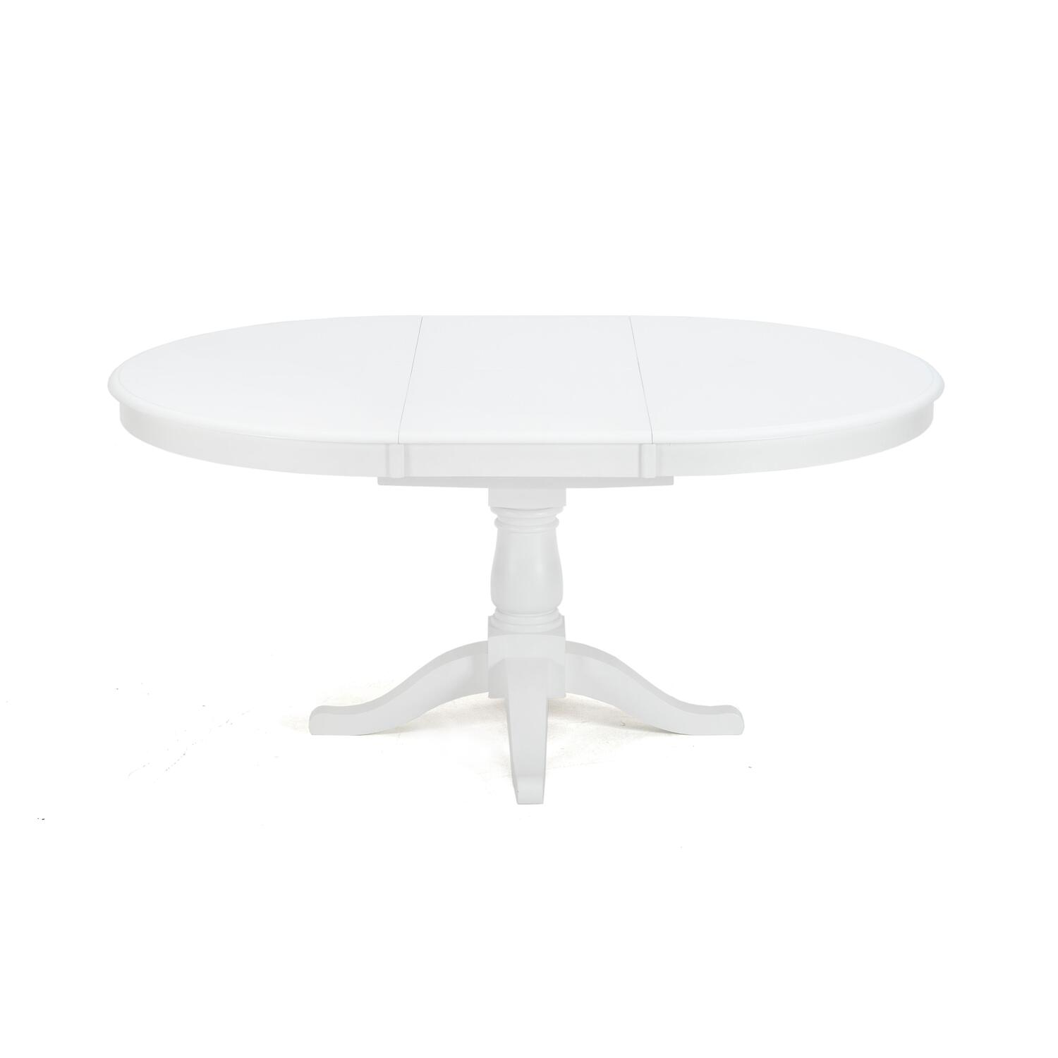 Modern round pedestal dining table - Jofran Casper White Finished Round To Oval Dining Table By Oj Commerce