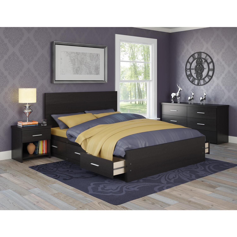 Sonax sonax 4 piece storage bed set in ravenwood black for Headboard dresser and nightstand set
