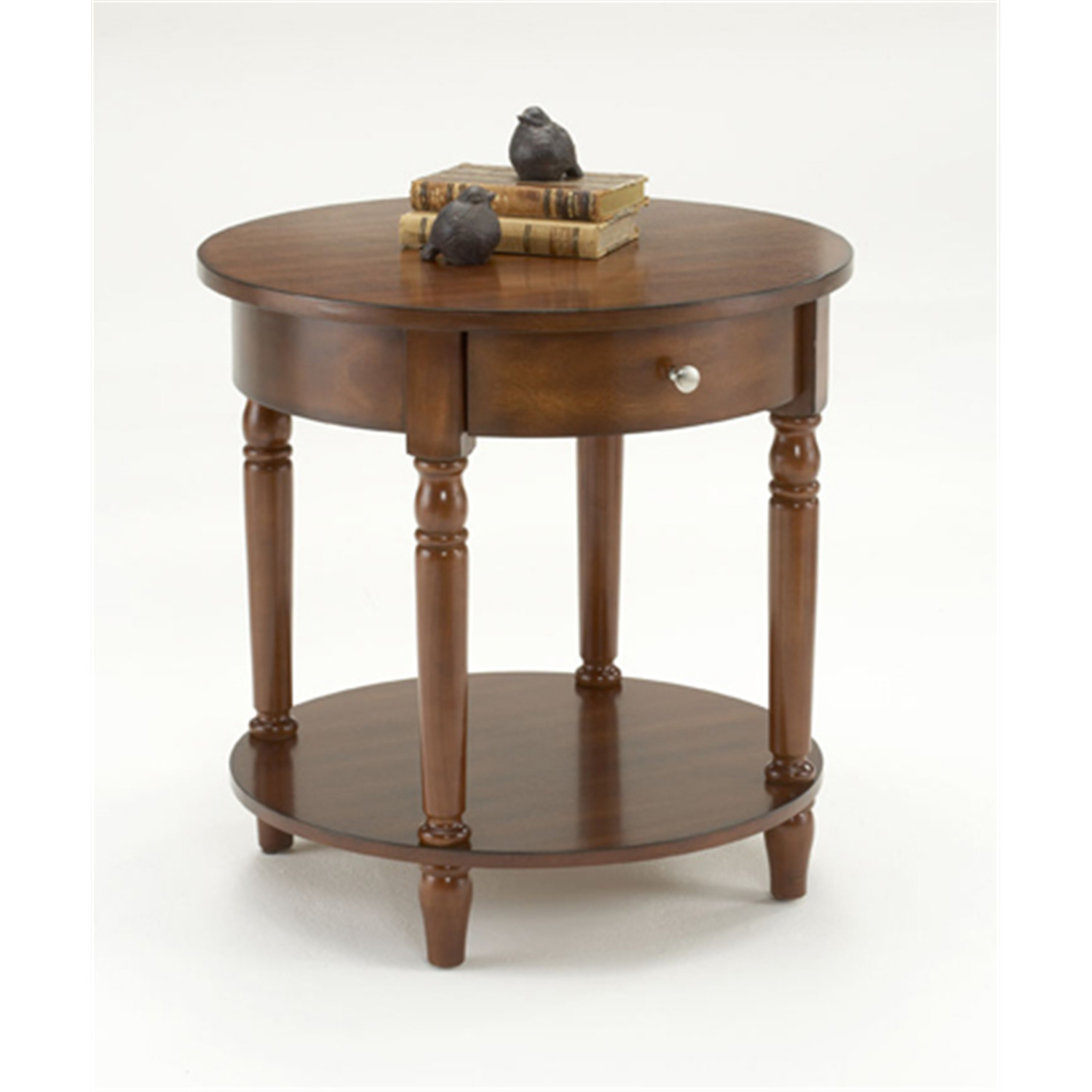 Bernards cherry round accent table with drawer by oj for Occasional table with drawers