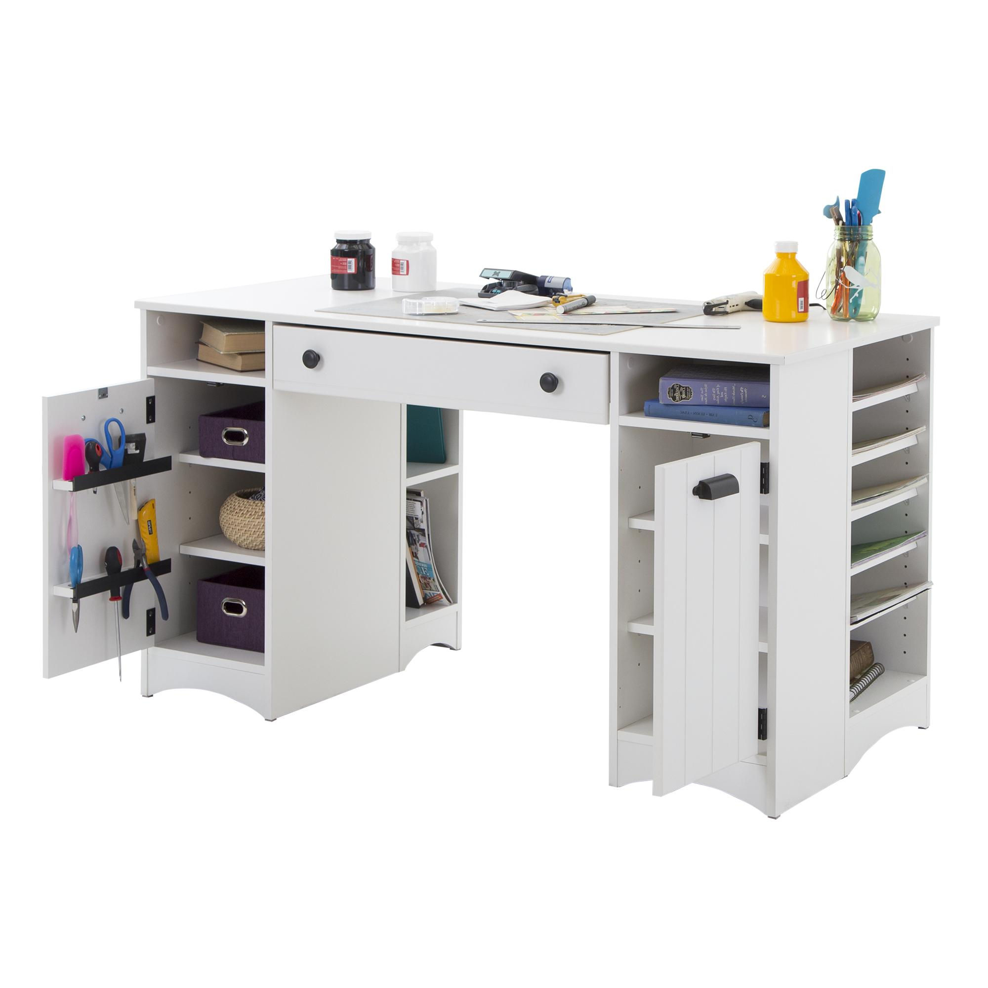 South shore artwork craft table with storage by oj commerce 7260727 - Craft desk with storage ...