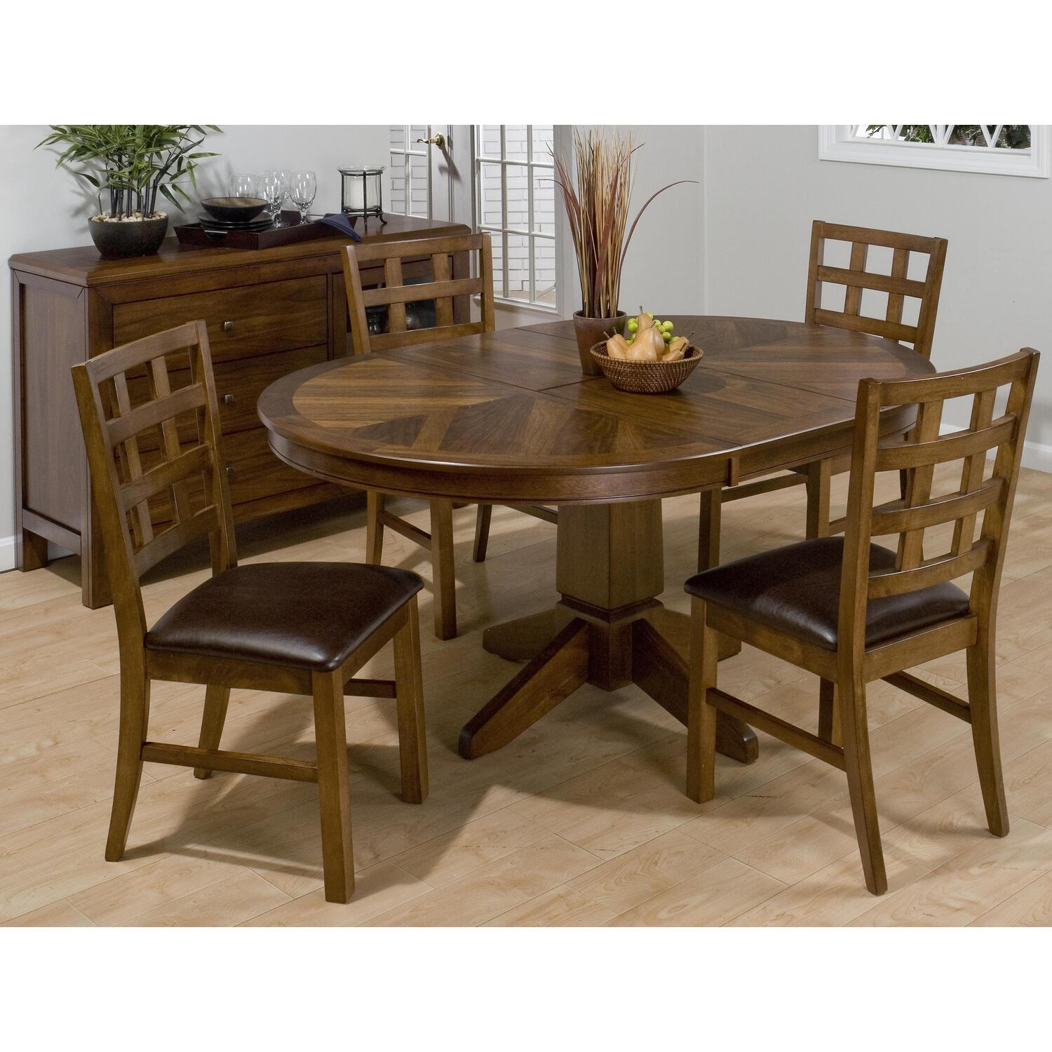 falls walnut finished round 5 piece dining set w butterfly leaf