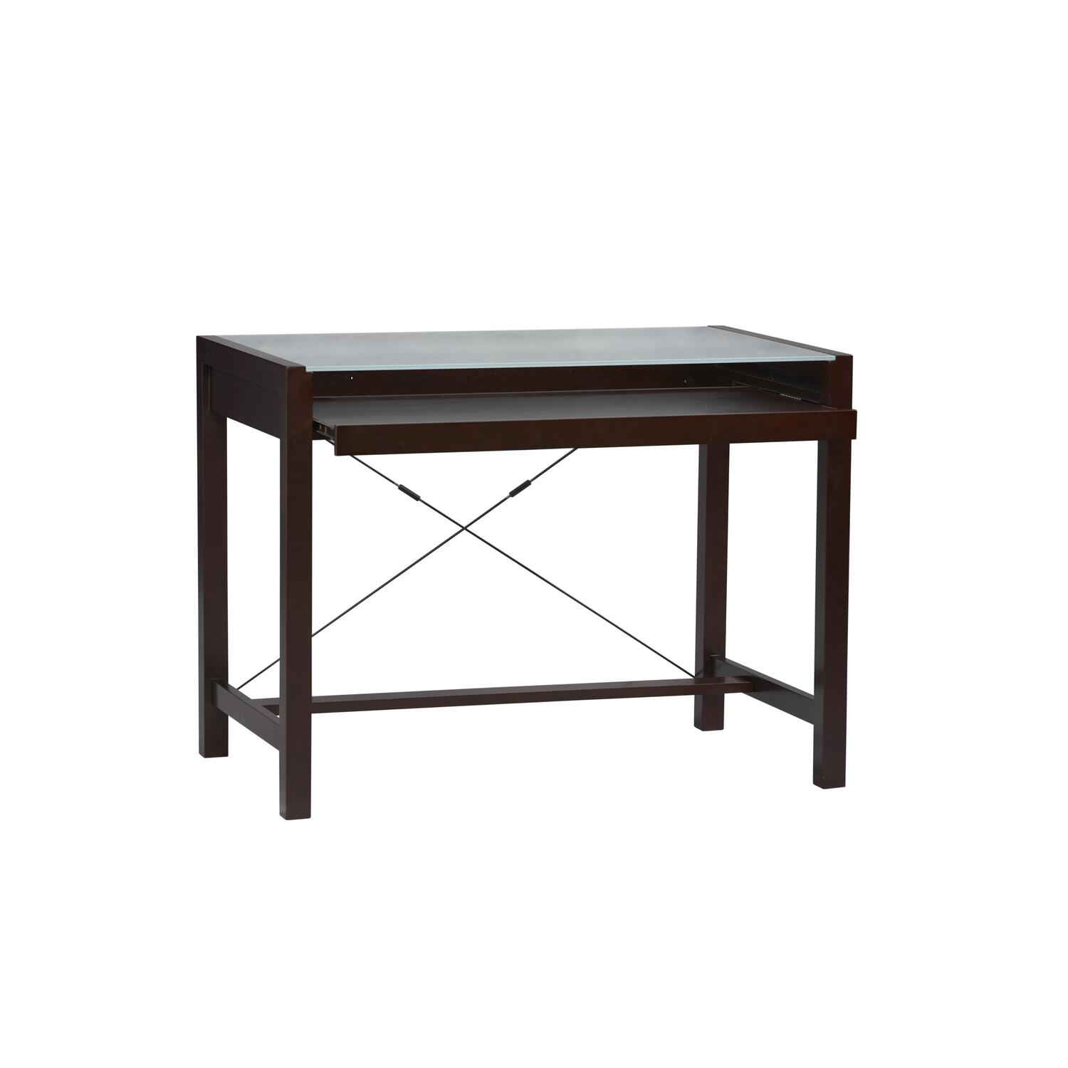Linon Metro Glass Computer Desk in Espresso by OJ Commerce 74007ESP-01