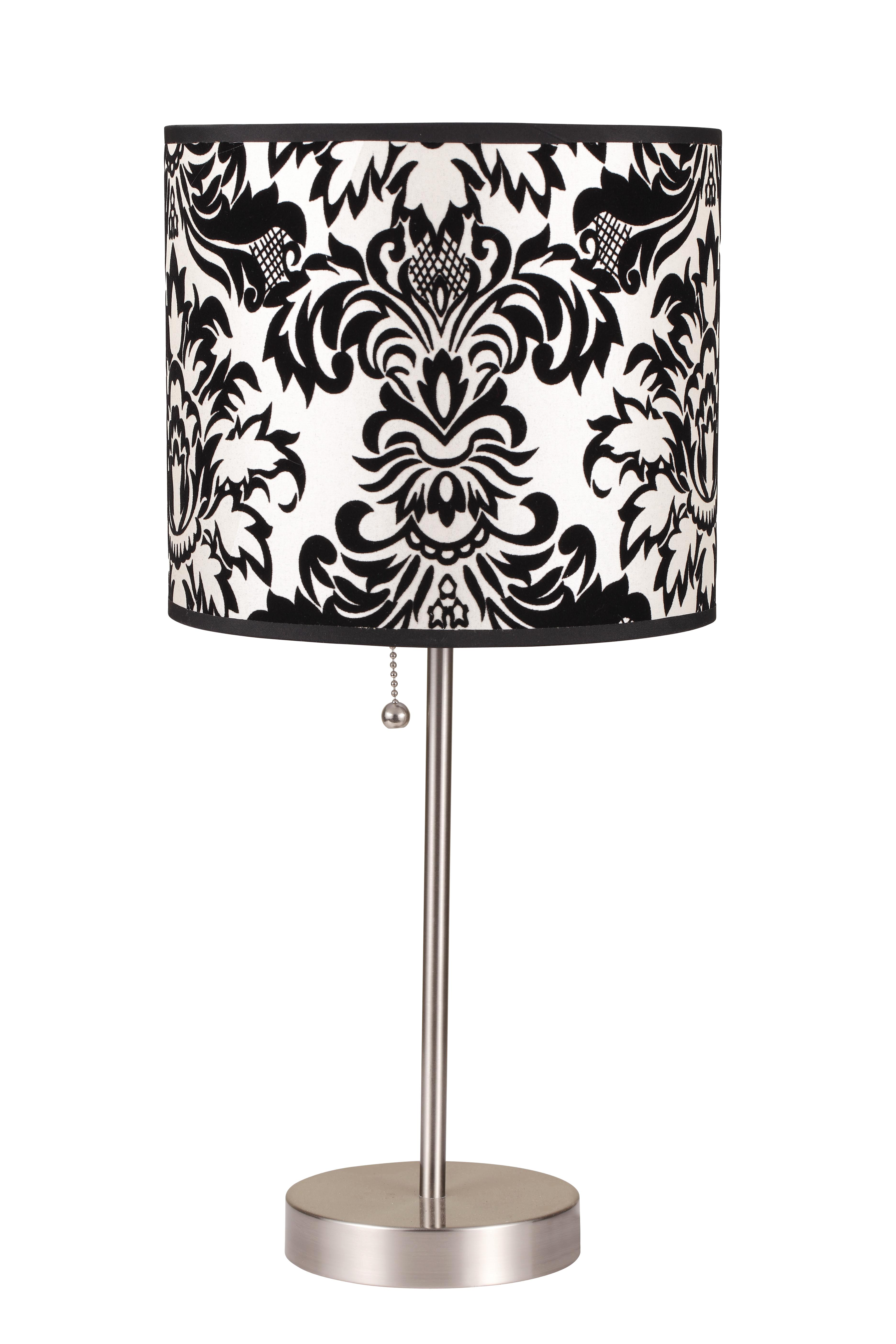 ore international 19 inch h black white print steel table lamp 2 piece. Black Bedroom Furniture Sets. Home Design Ideas