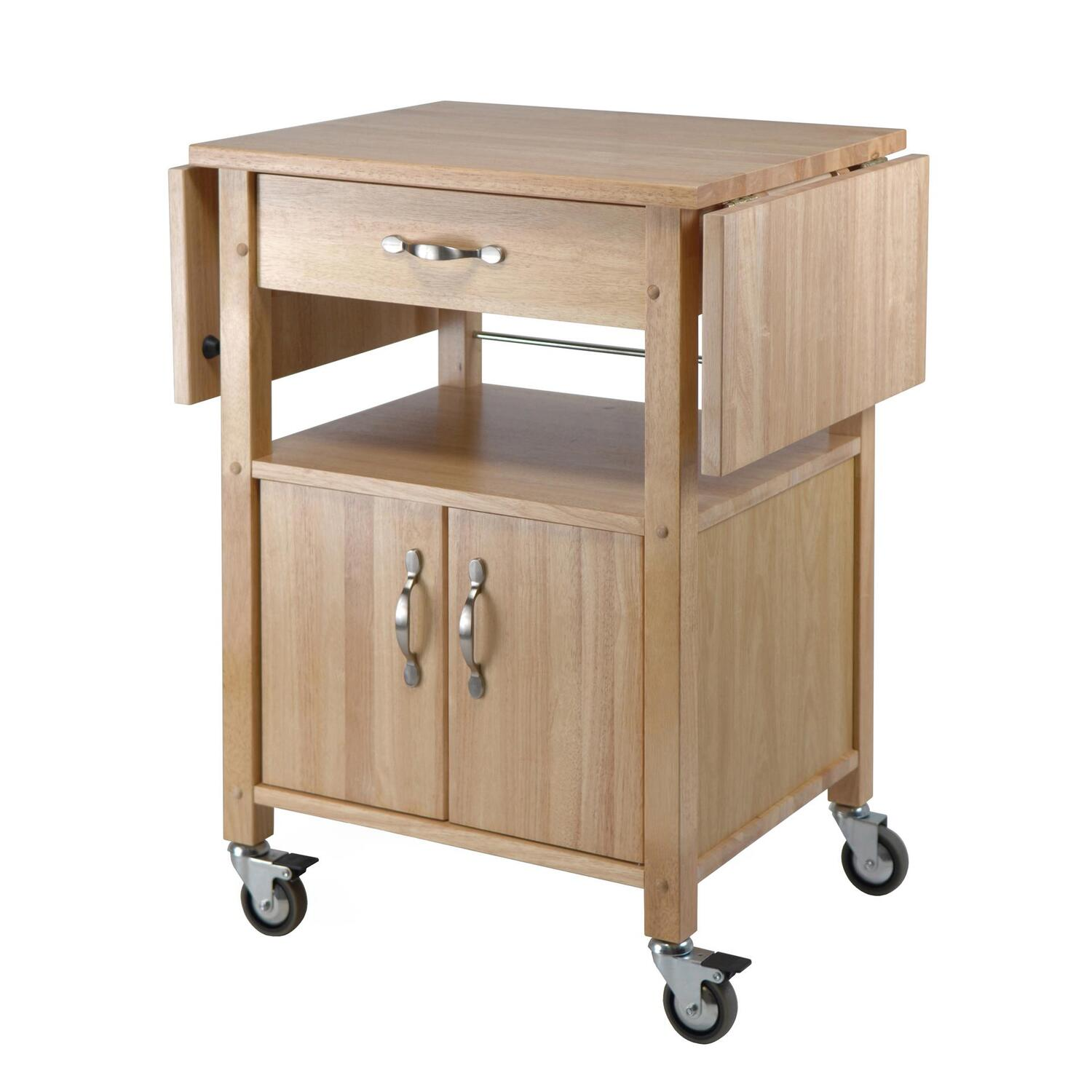 winsome kitchen cart double drop leaf cabinet with shelf