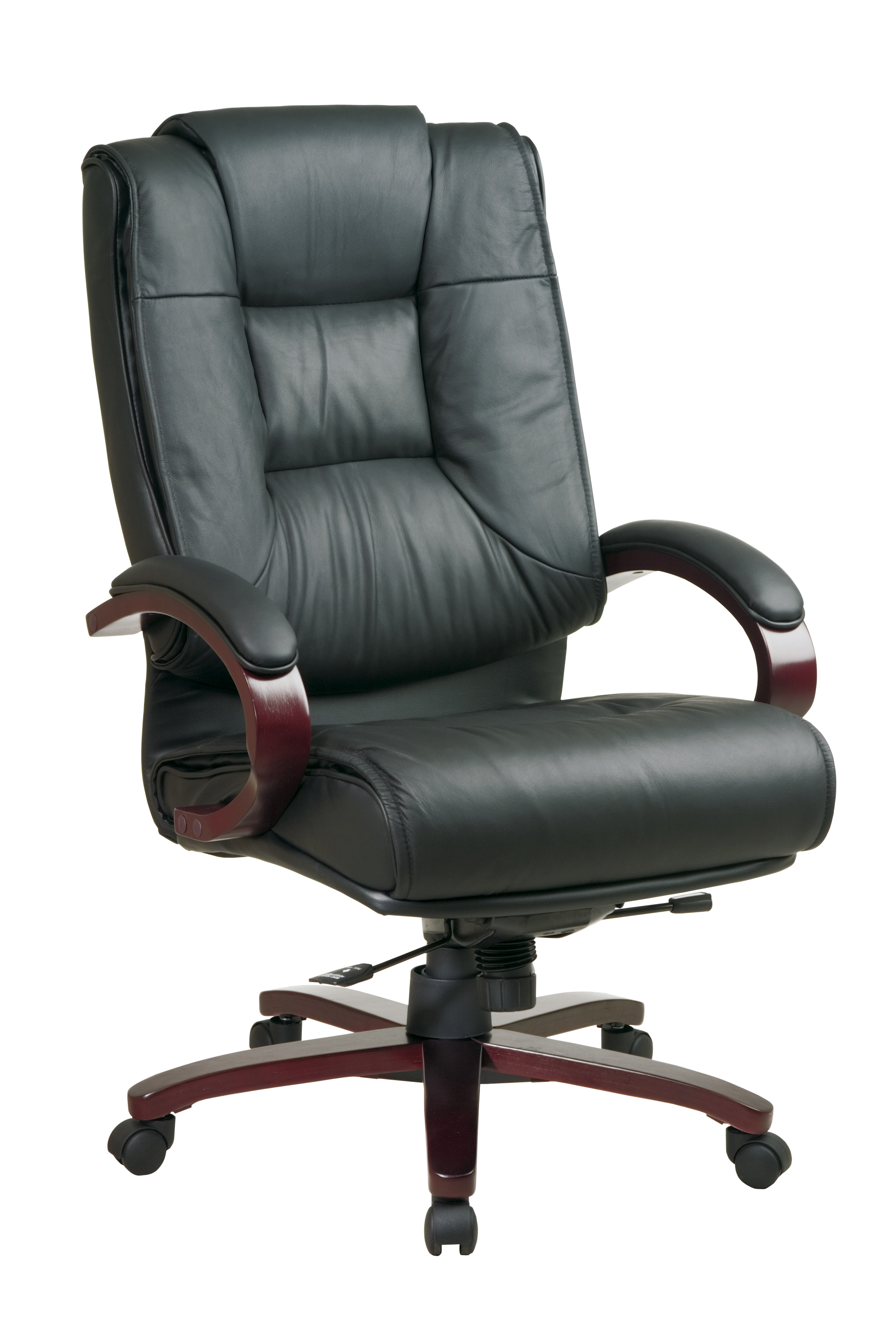 office star high back leather executive chair with mahogany finish by