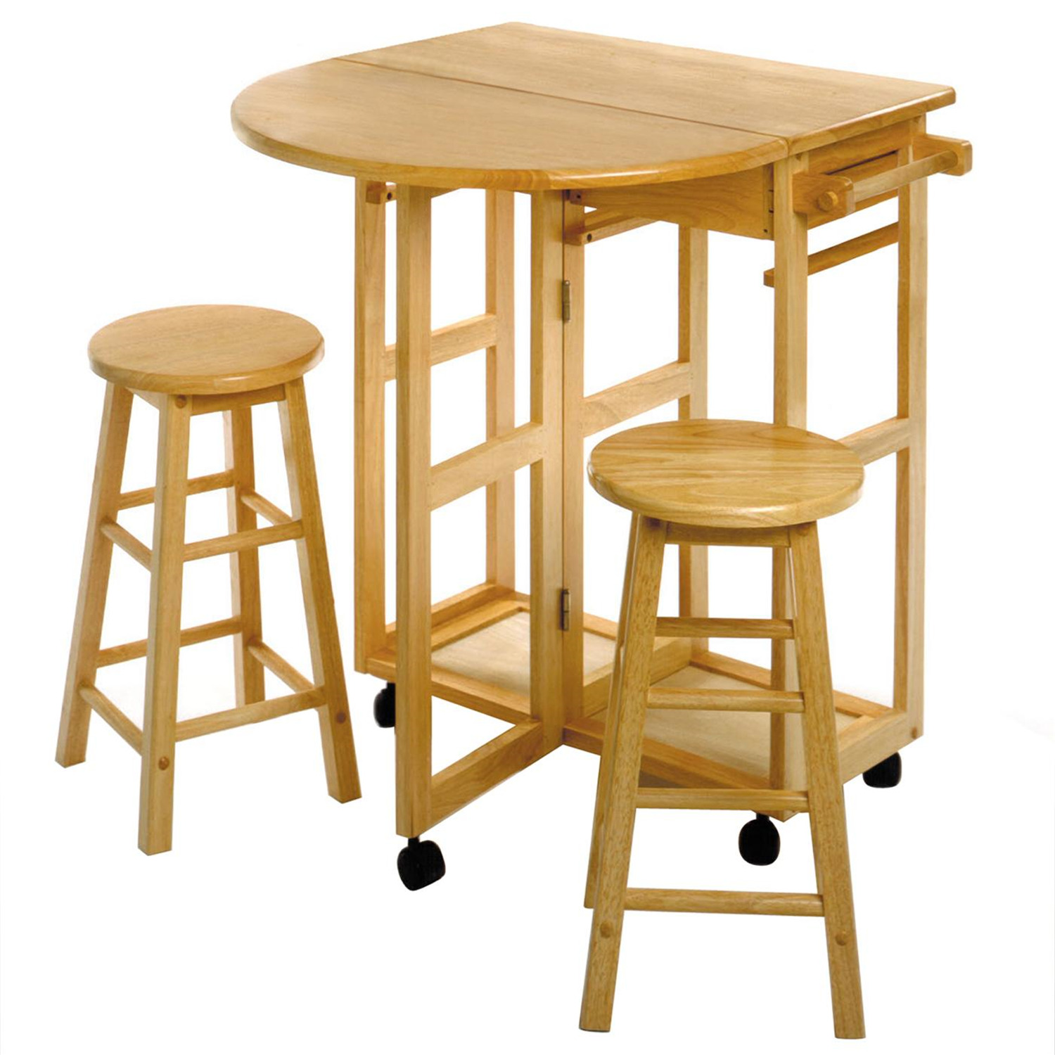 winsome space saver drop leaf table with 2 round stools by oj