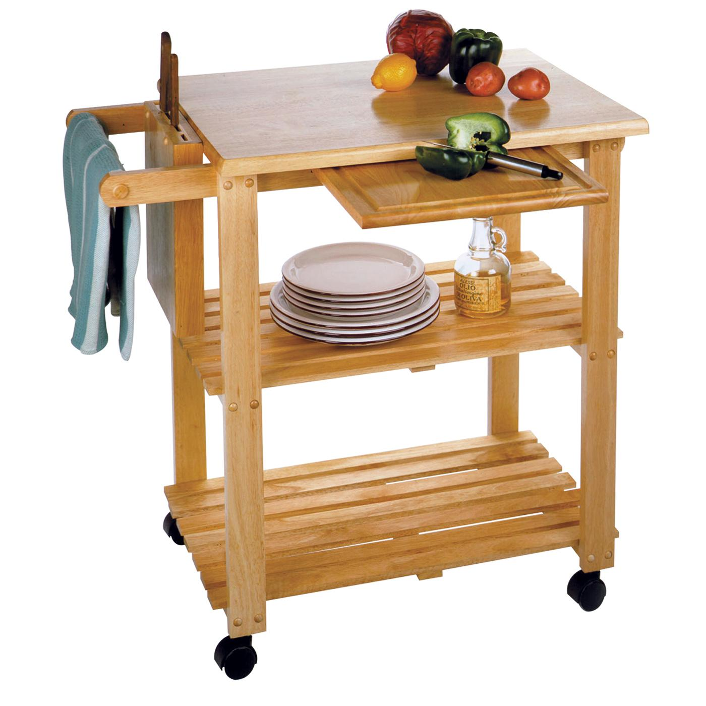 Winsome Kitchen Cart With Cutting Board Knife Block And Shelves By Oj Commerce 89933