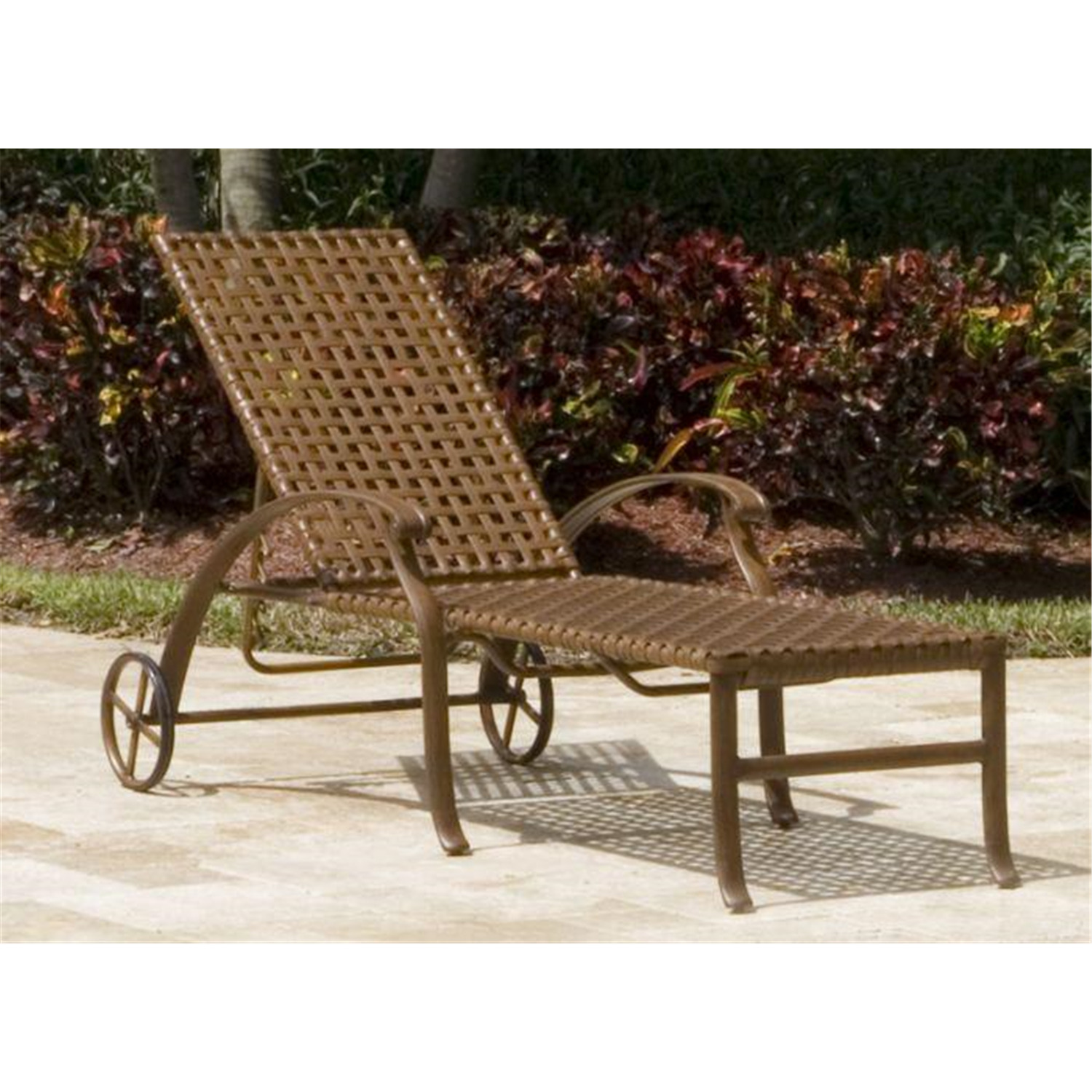Hospitality Rattan Patio Chaise Lounge With Wheels By OJ Commerce 910 1252 BR