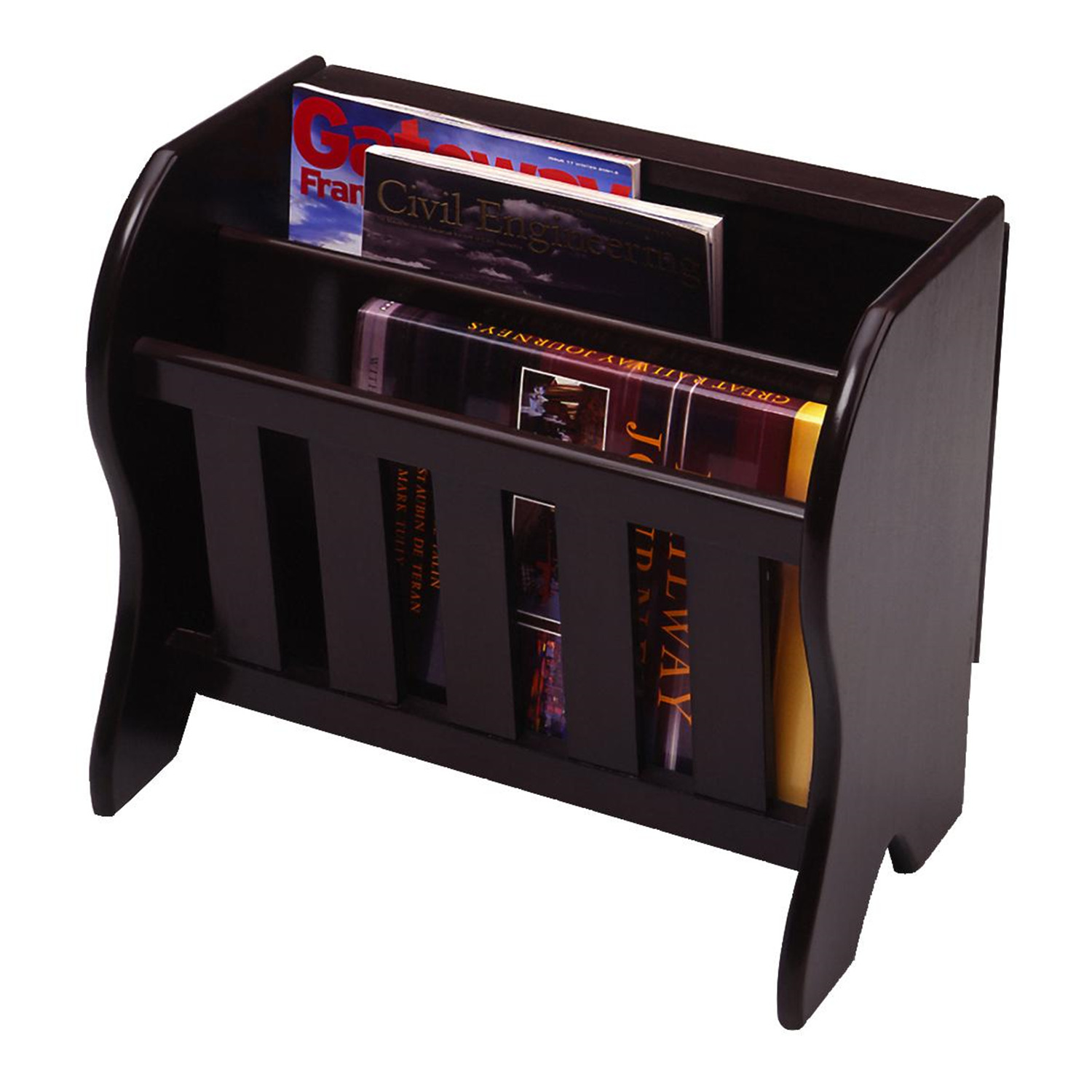Magazine Rack With Side Flip Top Modern Round Coffee Table