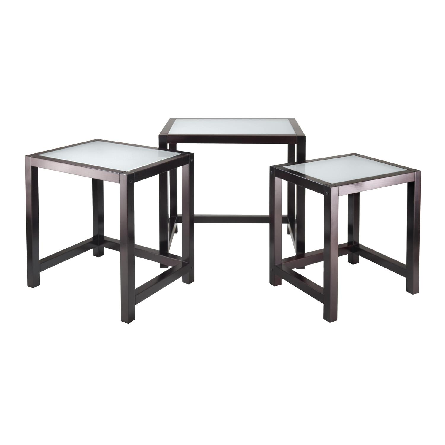 Winsome copenhagen 3 pc nesting table set with glass top for Glass top nesting tables
