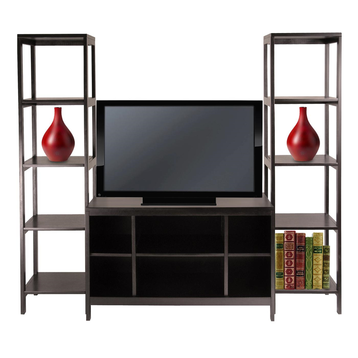 winsome hailey 3pc tv stand shelf set by oj commerce 92340. Black Bedroom Furniture Sets. Home Design Ideas