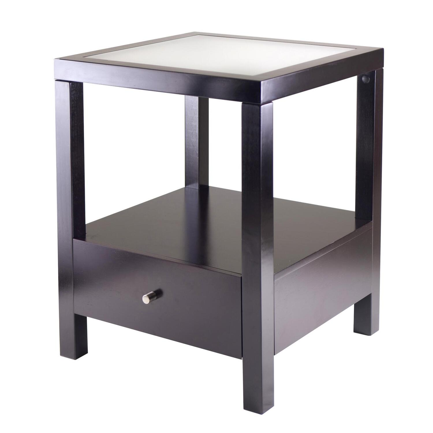 Winsome copenhagen end table with glass top by oj commerce for Glass end tables