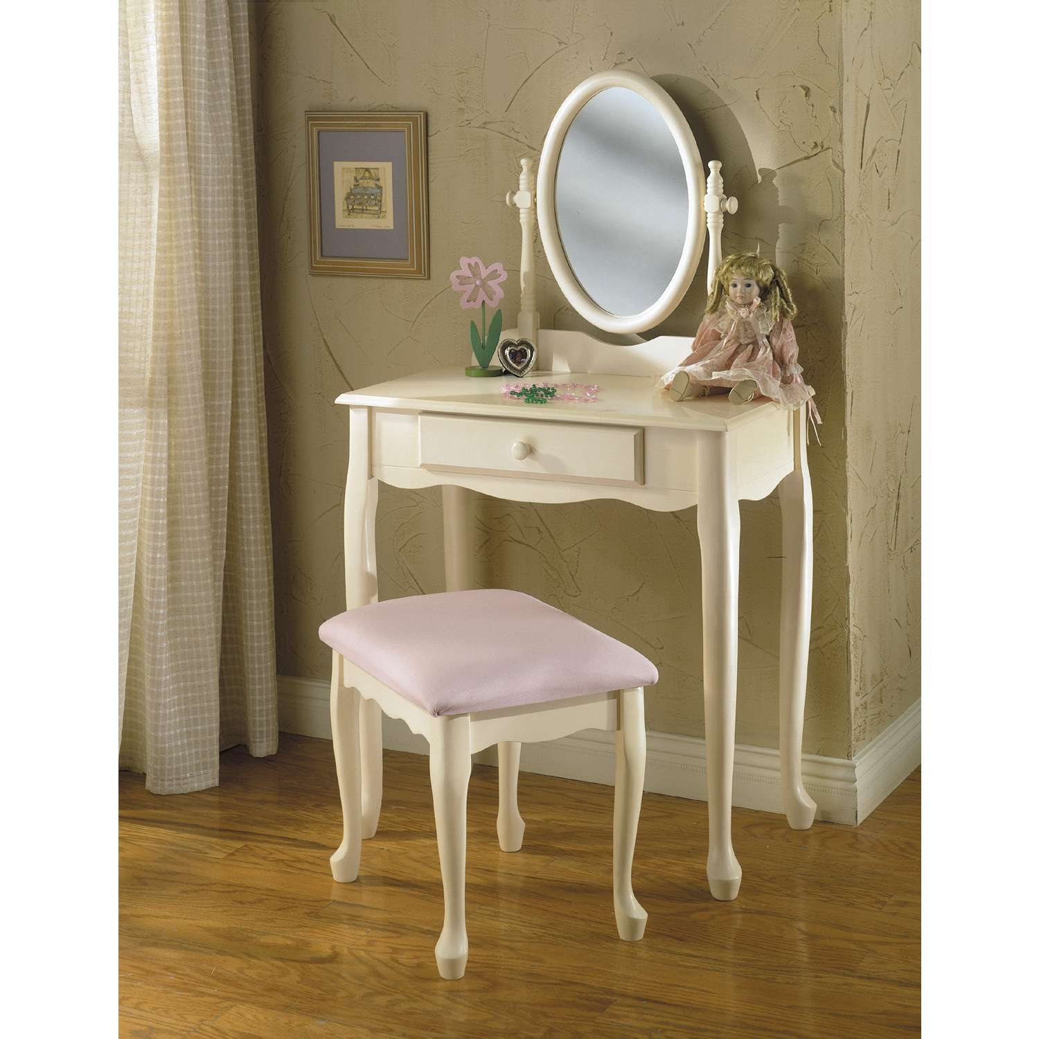 powell off white vanity mirror and bench by oj commerce