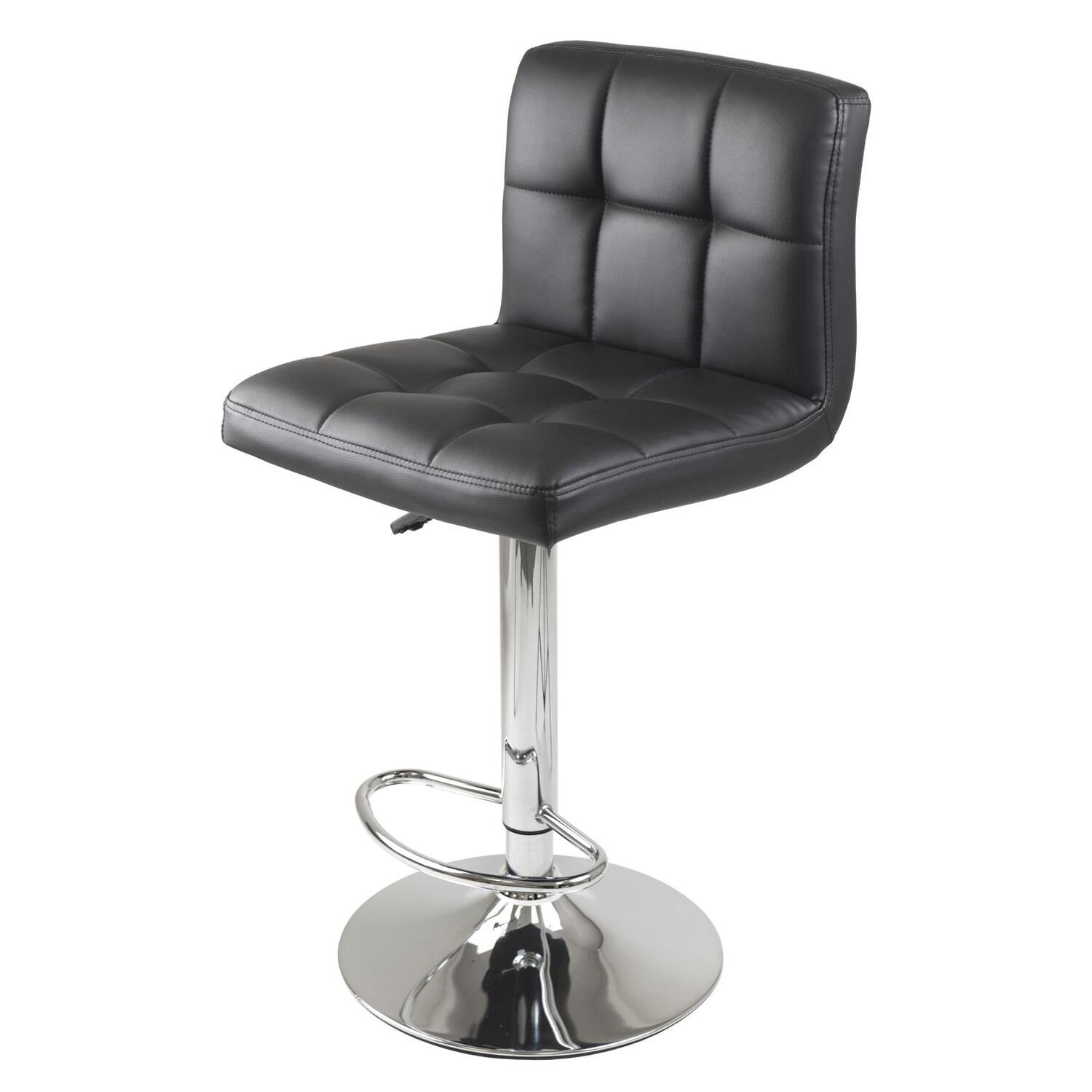 Winsome Stockholm Air Lift Stool Swivel Square Grid Faux