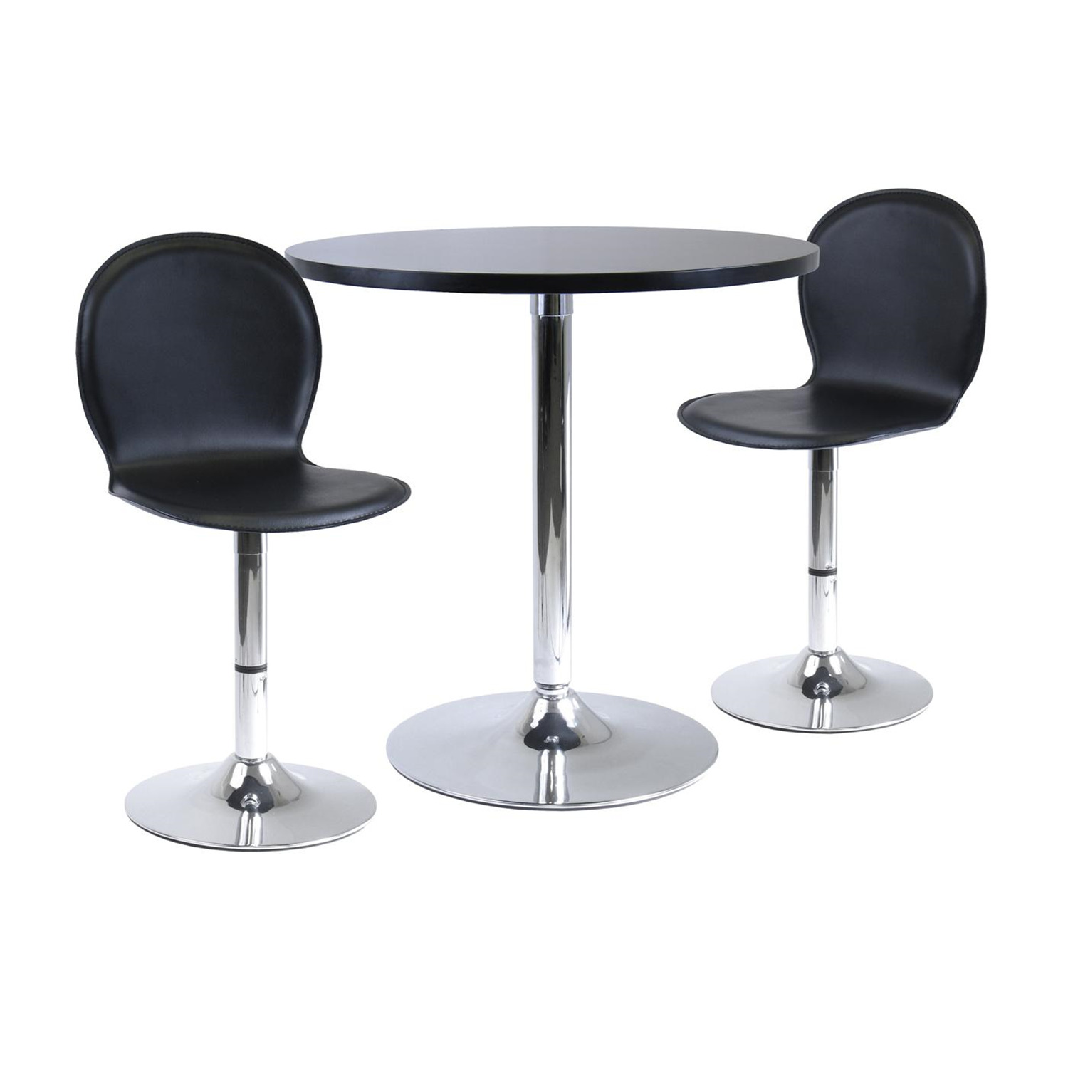 3pc dinning table set 29 round and 2 swivel faux leather chairs