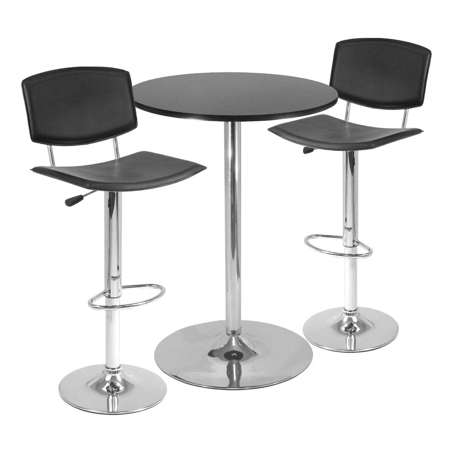 Winsome spectrum 3pc pub table set 28 round table with 2 for Bar stool table