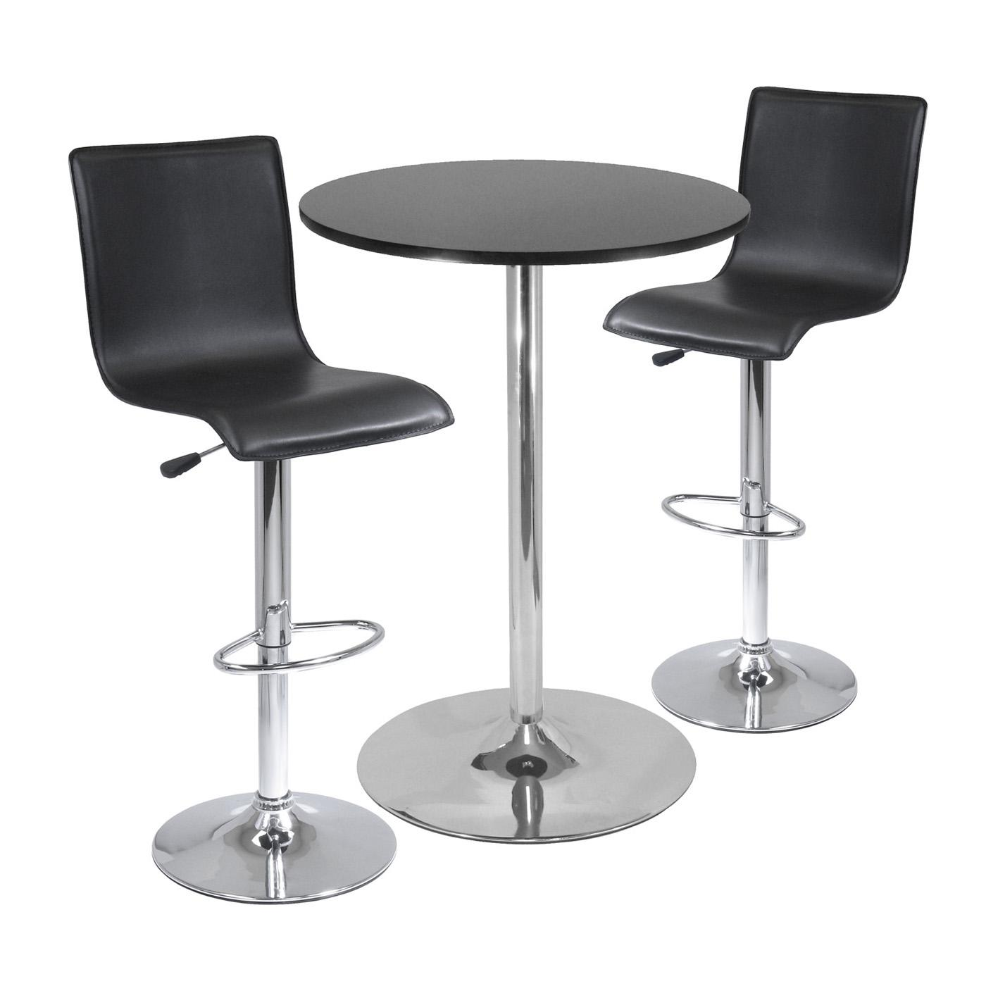 winsome spectrum 3pc pub table set 28 round table with 2 l shape