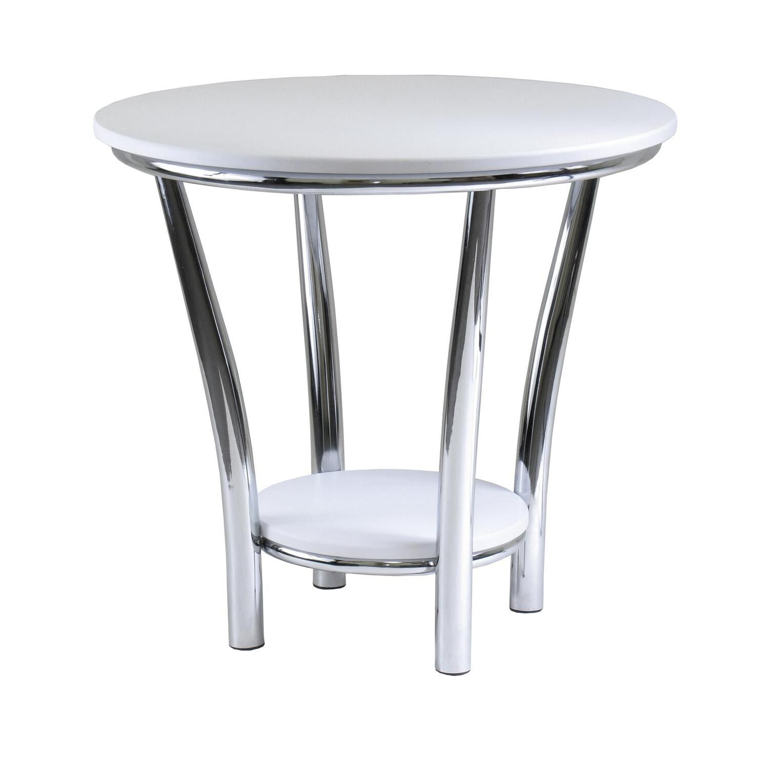Winsome maya round end table white top metal leg by oj for White end tables