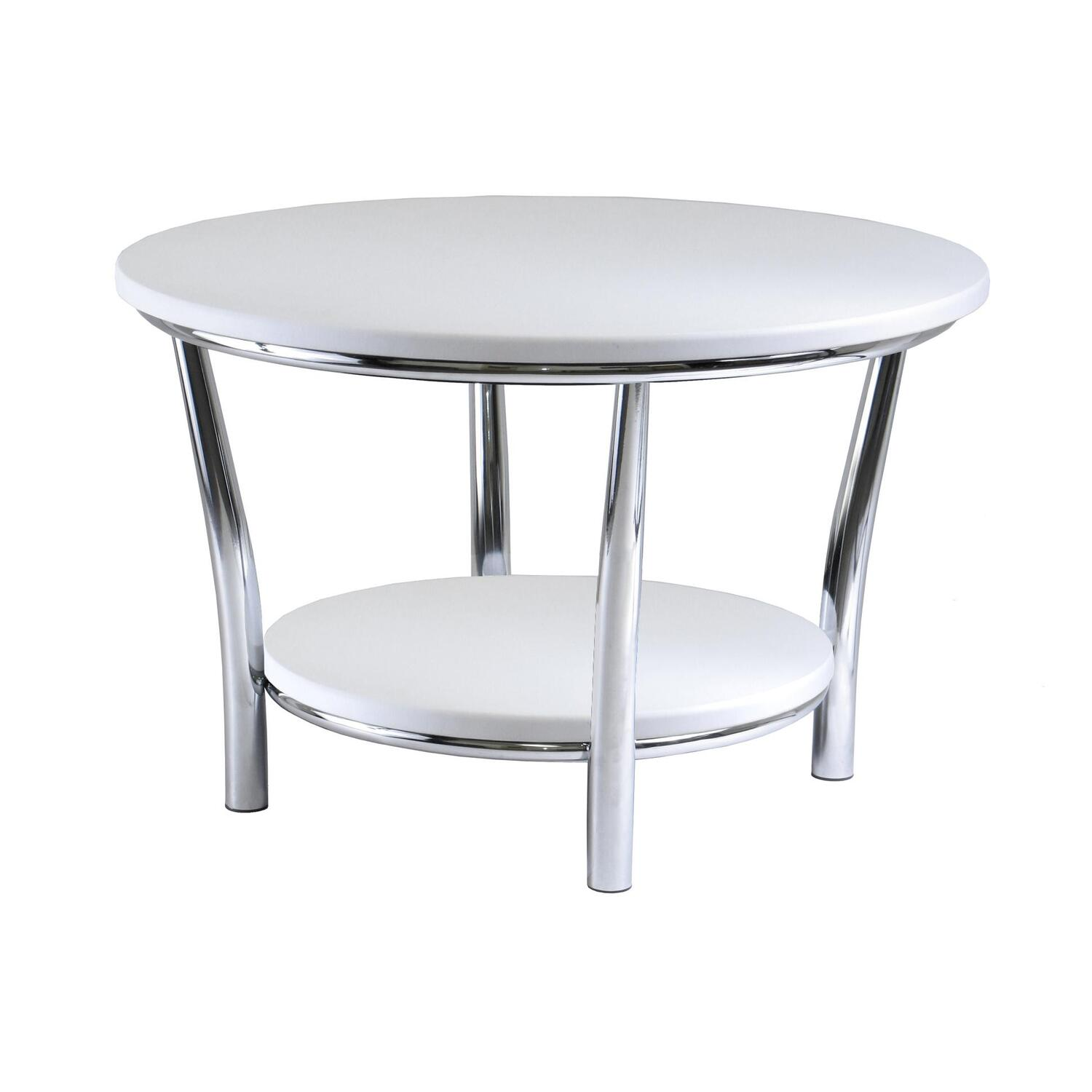 winsome maya round coffee table white top metal legs by oj commerce