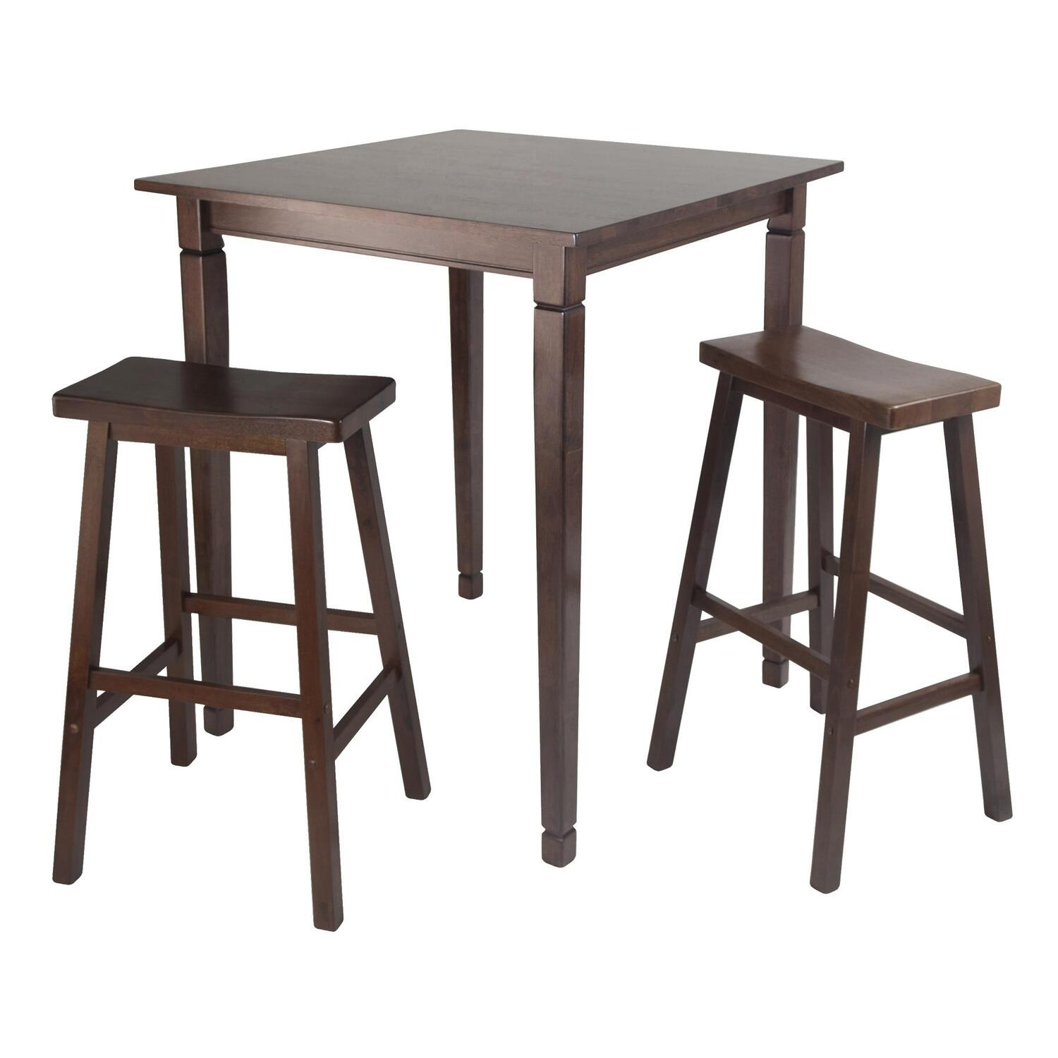 Winsome 3pc kingsgate high pub dining table with saddle for High dining table