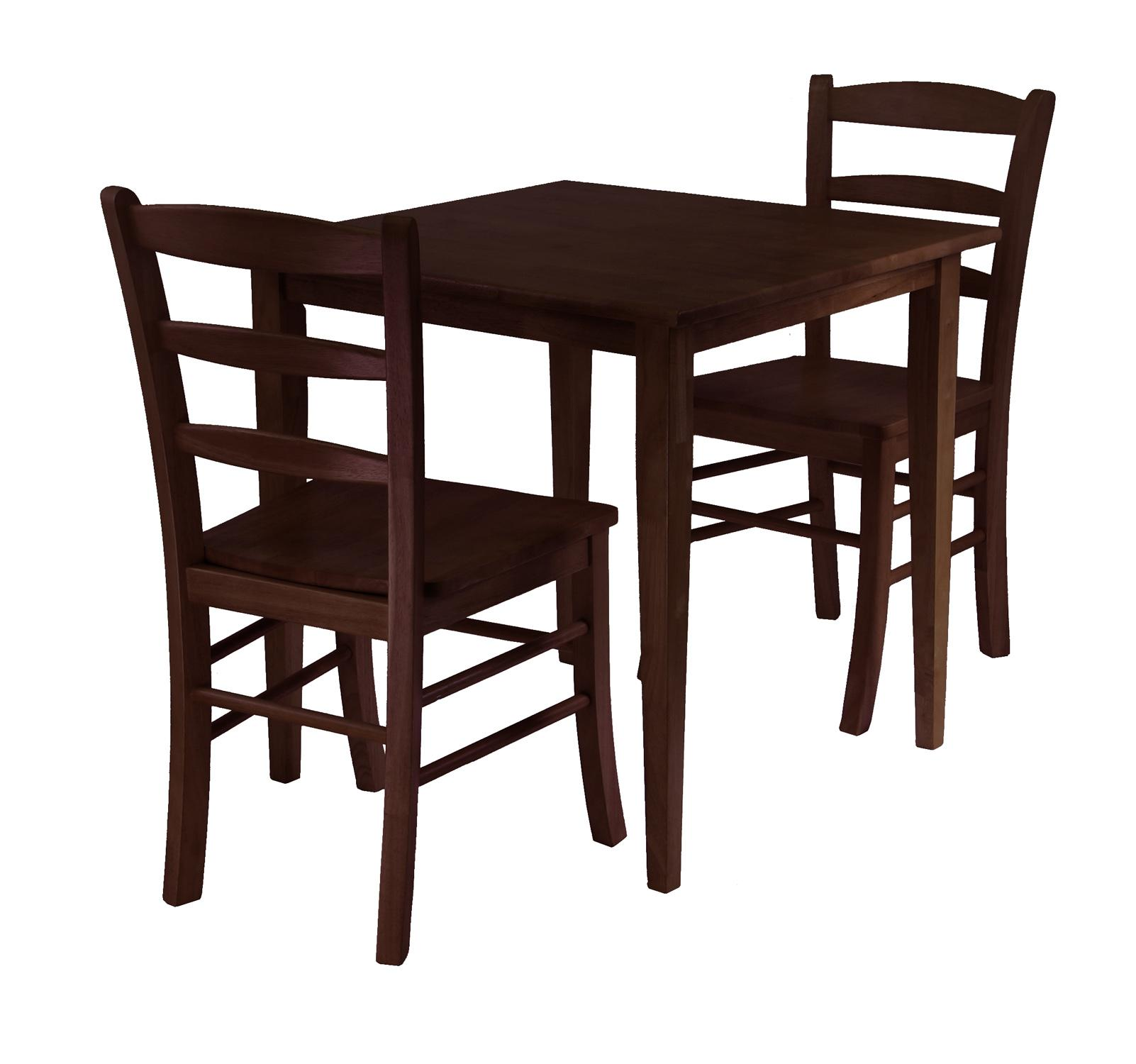 Winsome groveland 3pc square dining table with 2 chairs by for Small wood dining table and chairs