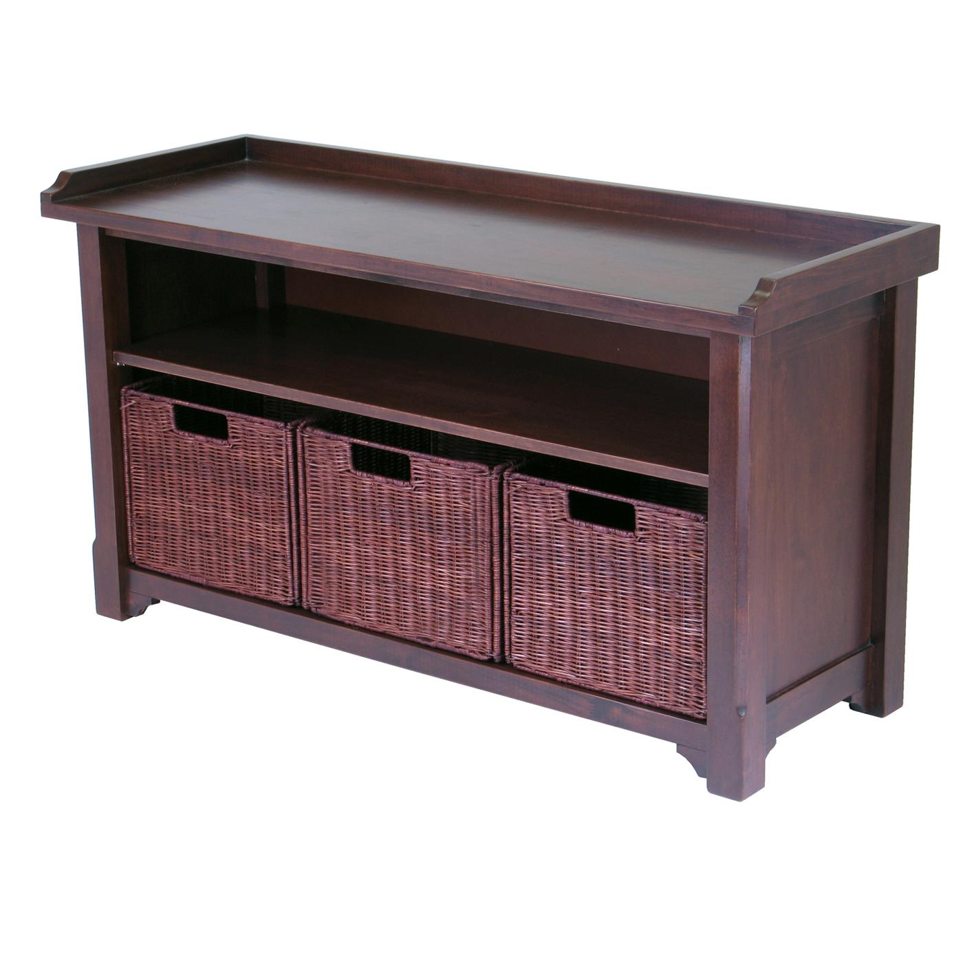 Winsome bench with storage shelf and 3 small baskets 2 cartons by oj commerce 94341 Storage benches