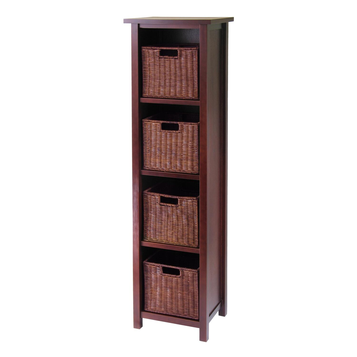 Winsome Milan 5pc Storage Shelf With Baskets Cabinet And