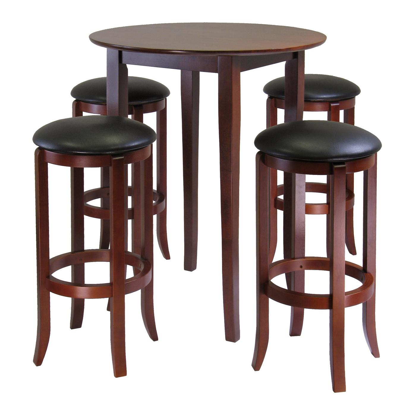 winsome fiona round 5pc high pub table set with pvc stools by oj commerce 94581. Black Bedroom Furniture Sets. Home Design Ideas