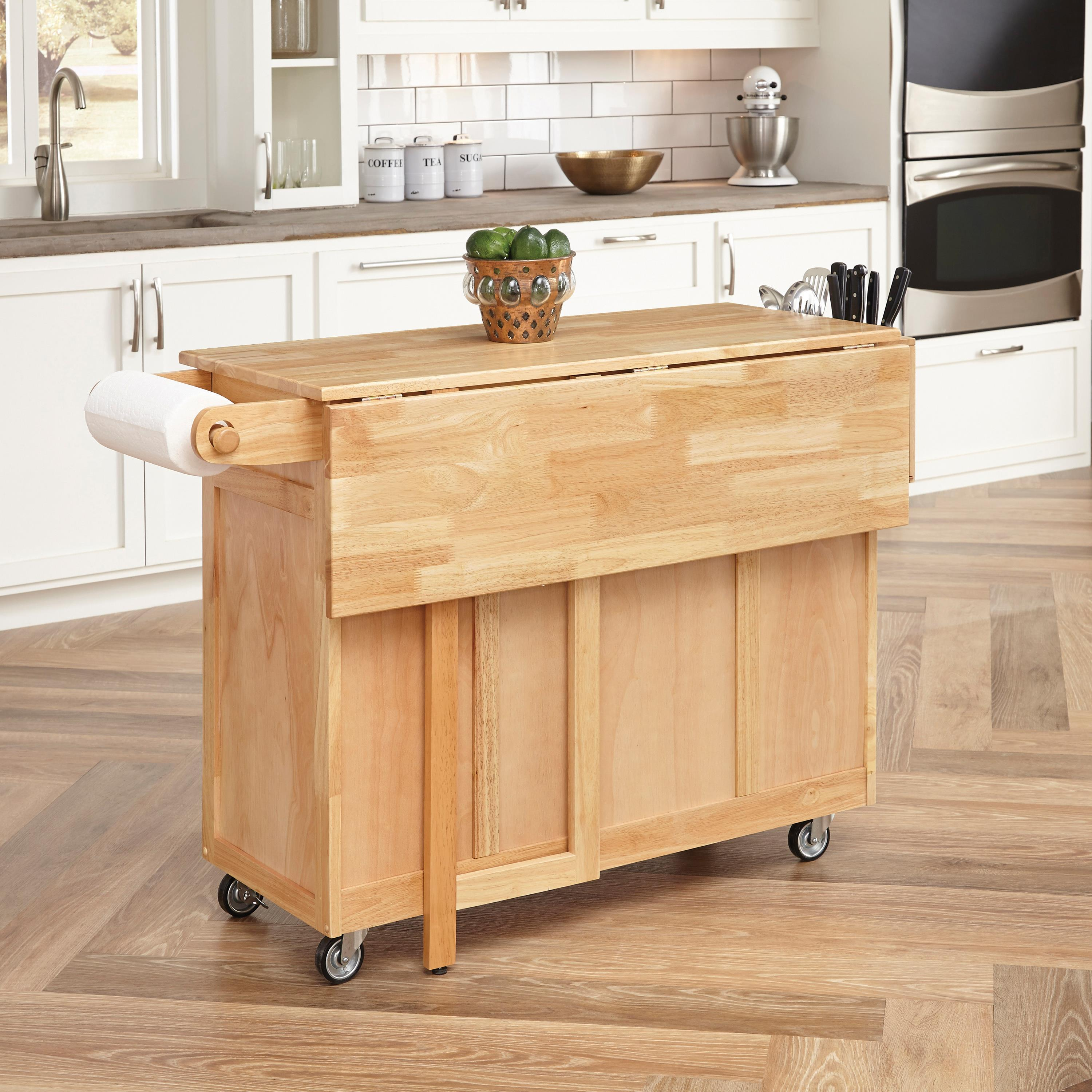 Kitchen Wood Top: Home Styles Wood Top Kitchen Cart With Breakfast Bar By OJ
